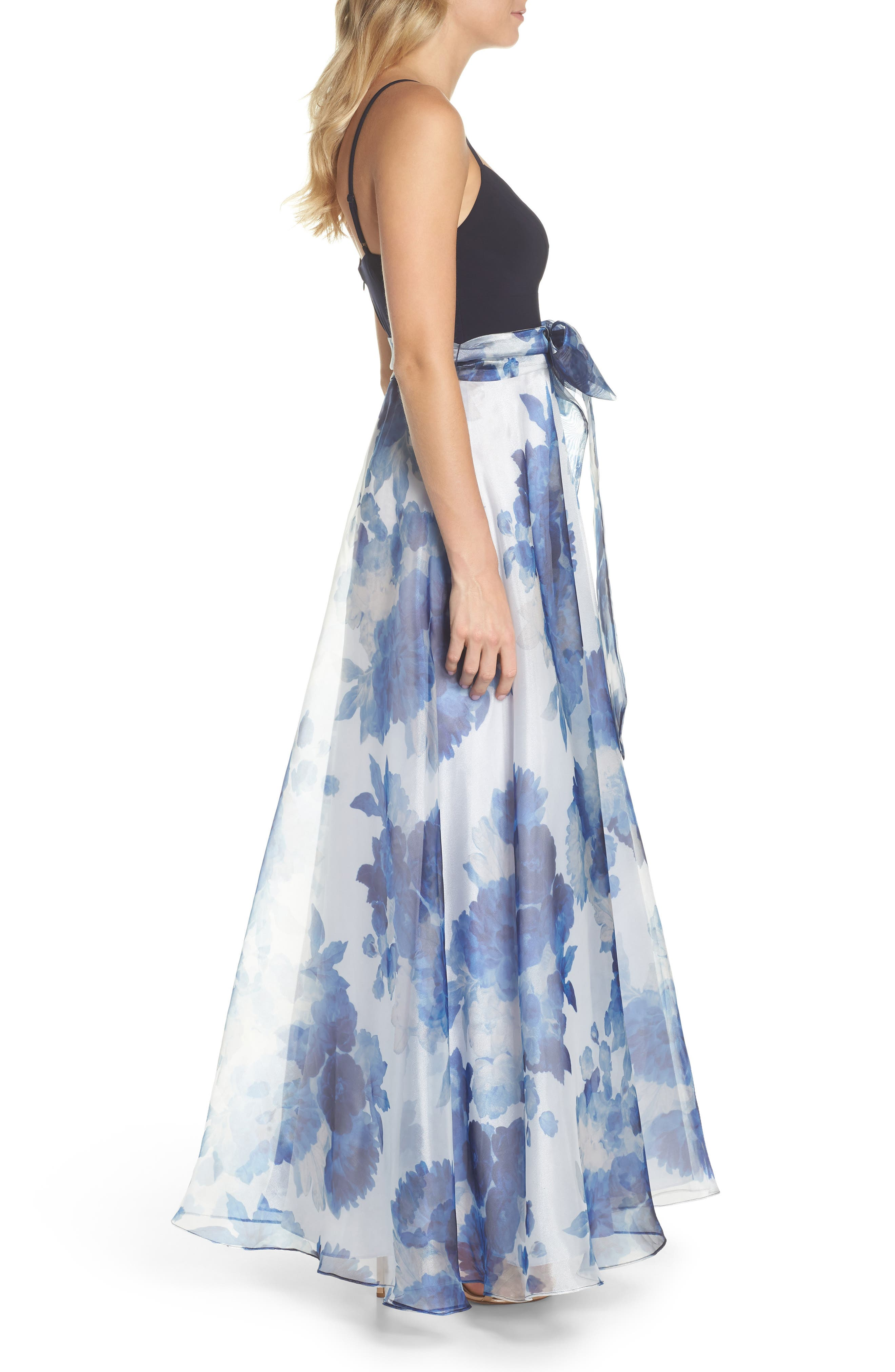 Floral Organza Gown,                             Alternate thumbnail 3, color,                             Navy Multi