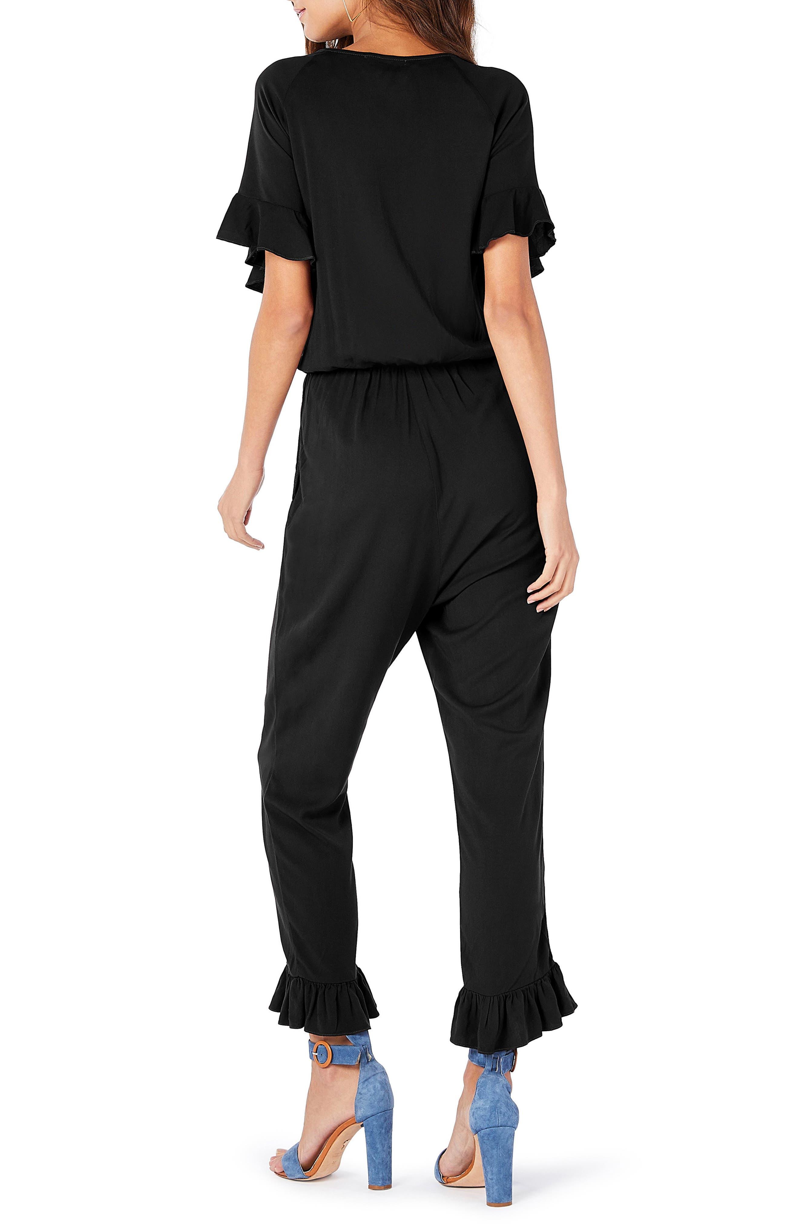 Ruffled Jumpsuit,                             Alternate thumbnail 2, color,                             Black