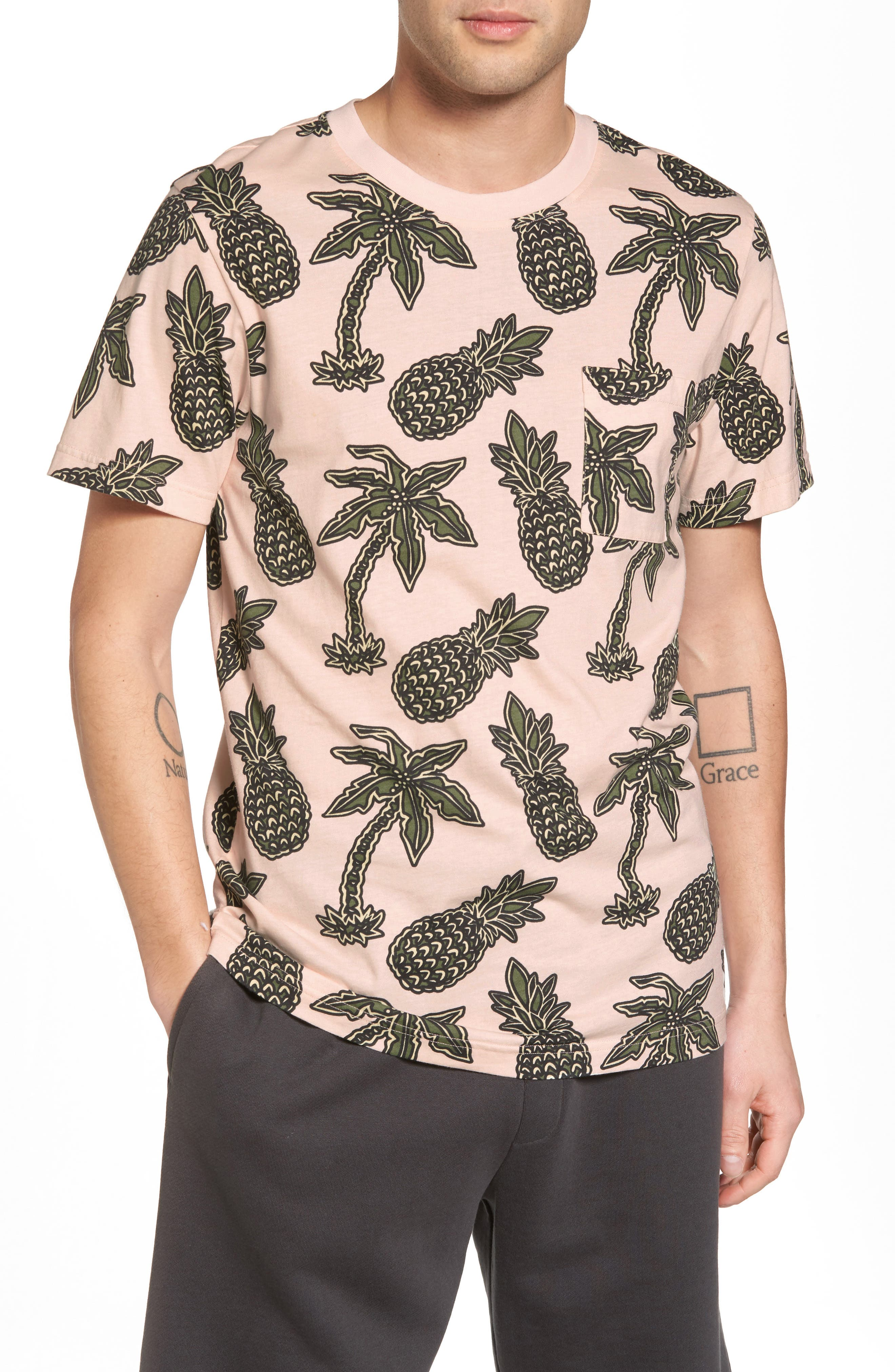 Maxwell Pineapple Print T-Shirt,                             Main thumbnail 1, color,                             Pineapple Pink