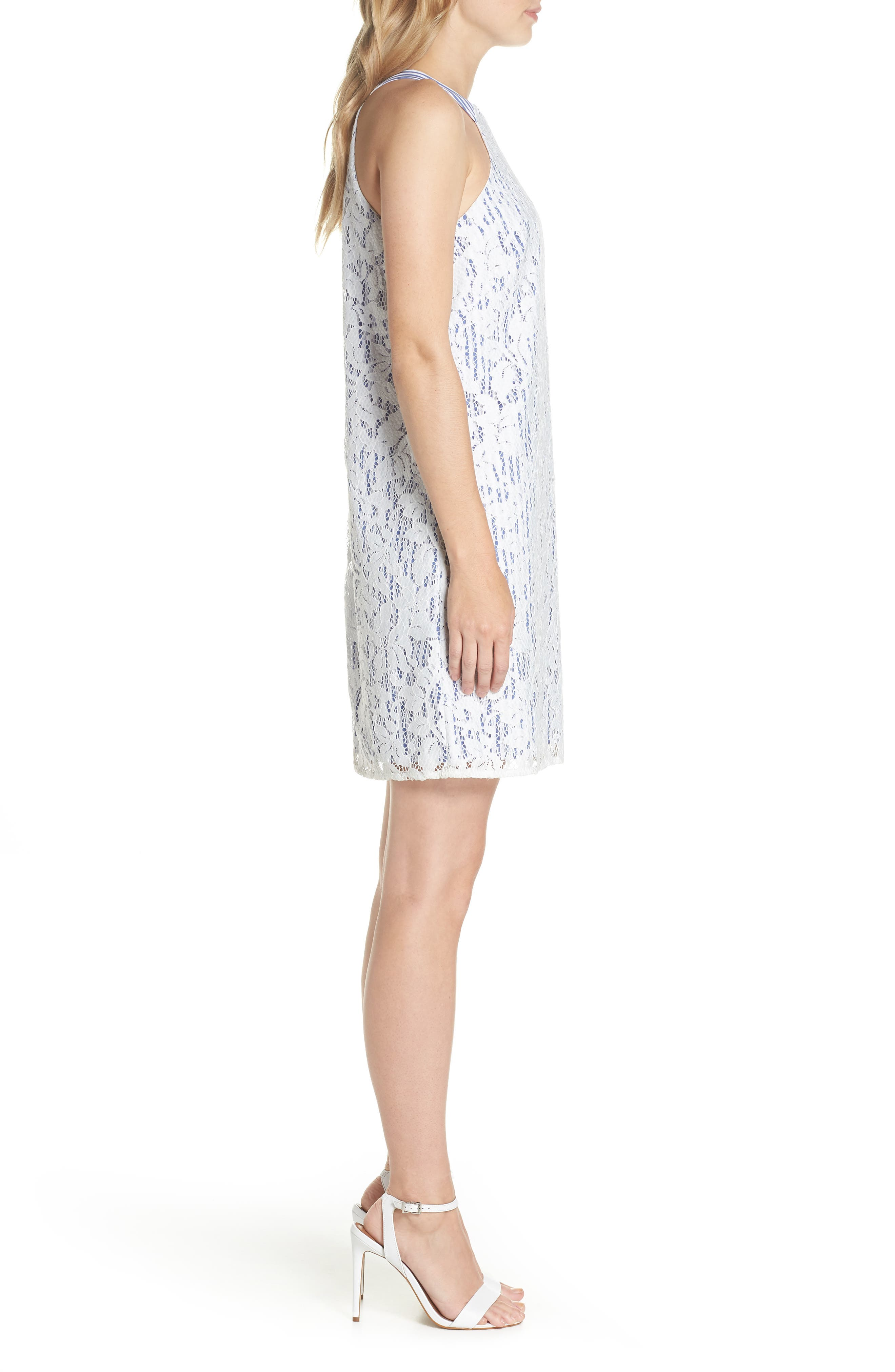 Pinstripe Lace Overlay Shift Dress,                             Alternate thumbnail 3, color,                             White/ Blue