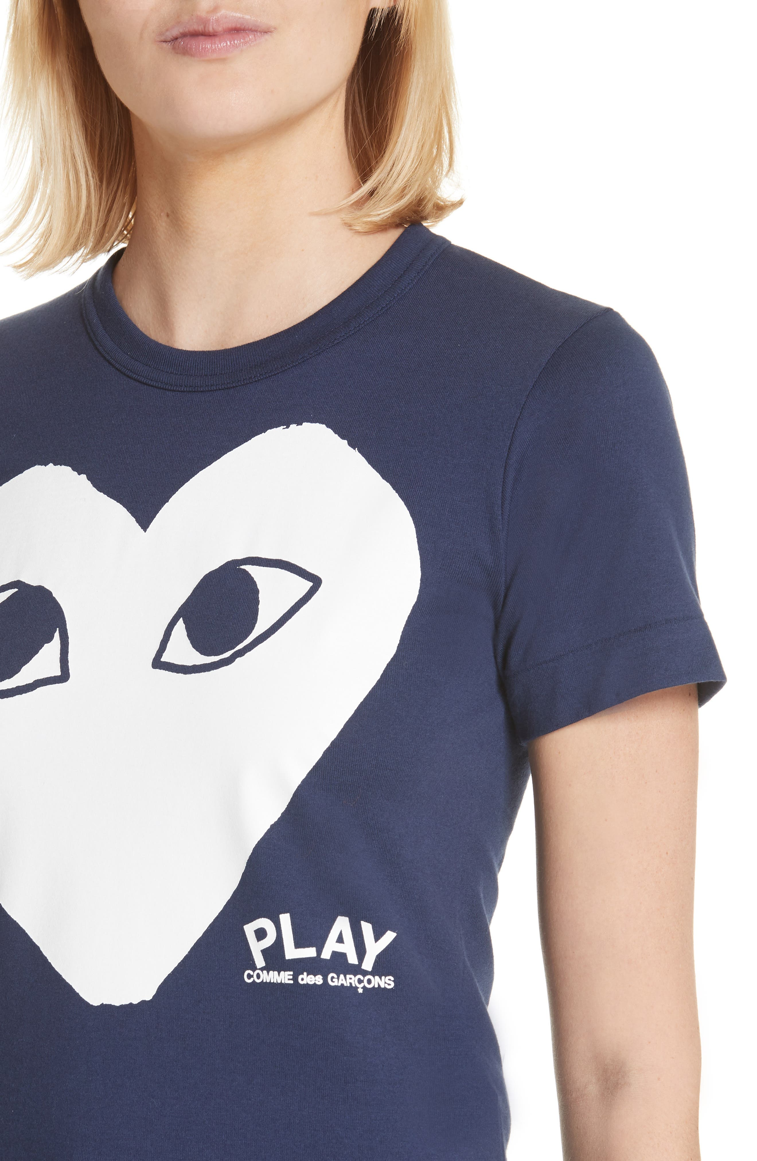 Comme des Garçons PLAY Big Heart Graphic Tee,                             Alternate thumbnail 4, color,                             Navy