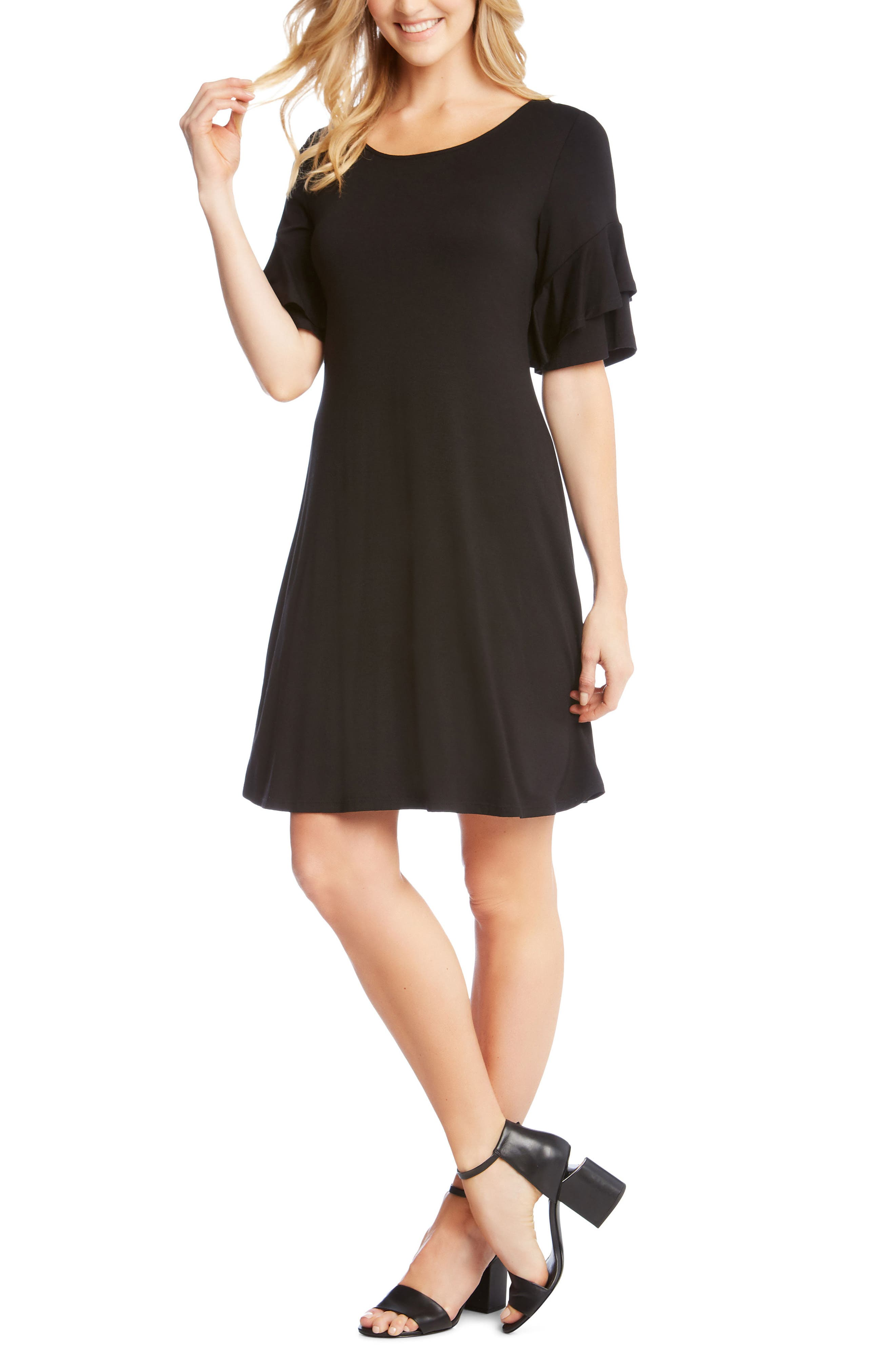 Ruffle Sleeve Jersey Knit Dress,                             Main thumbnail 1, color,                             Black