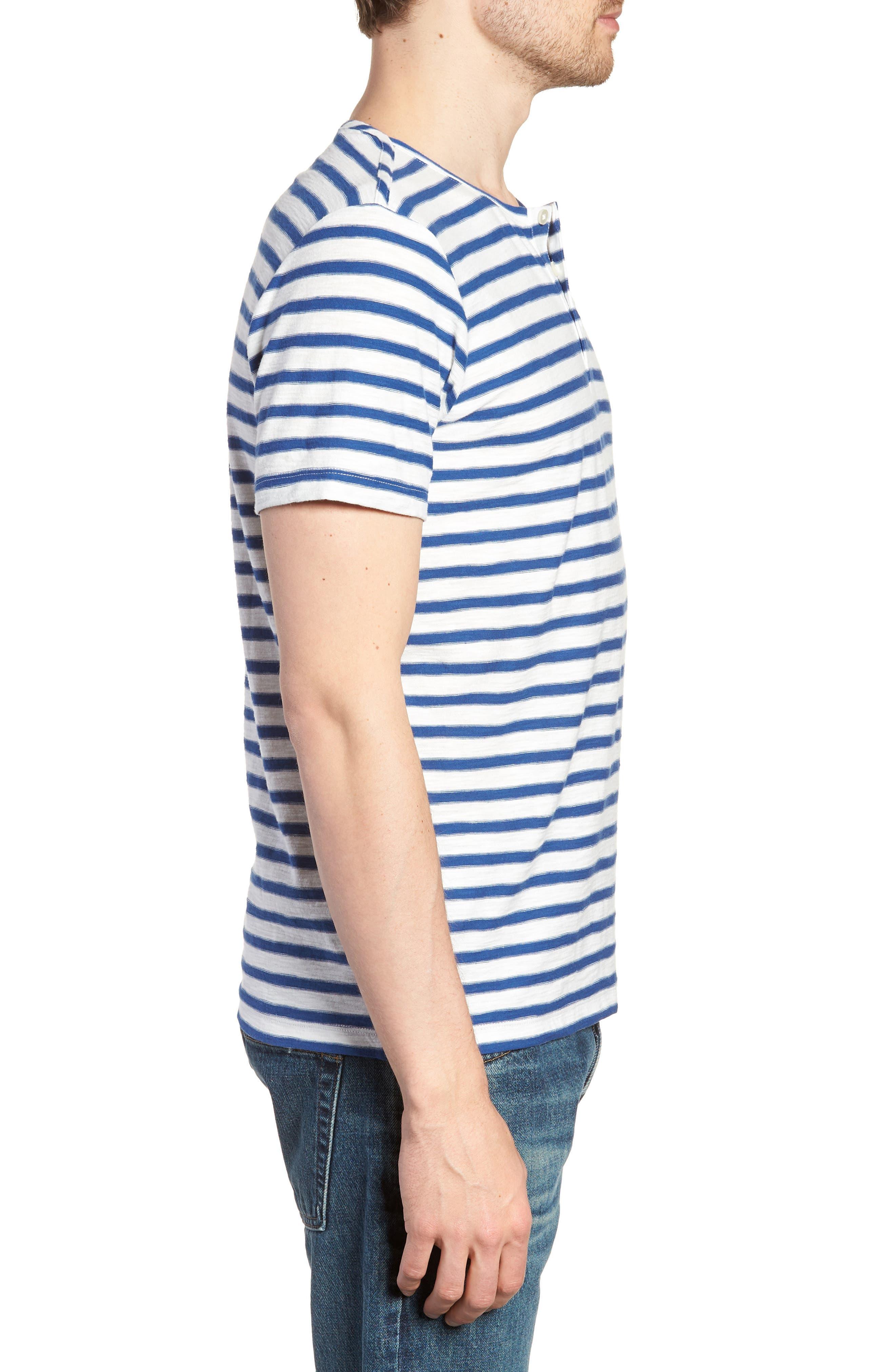 Stripe Henley T-Shirt,                             Alternate thumbnail 3, color,                             Gold Coast Print
