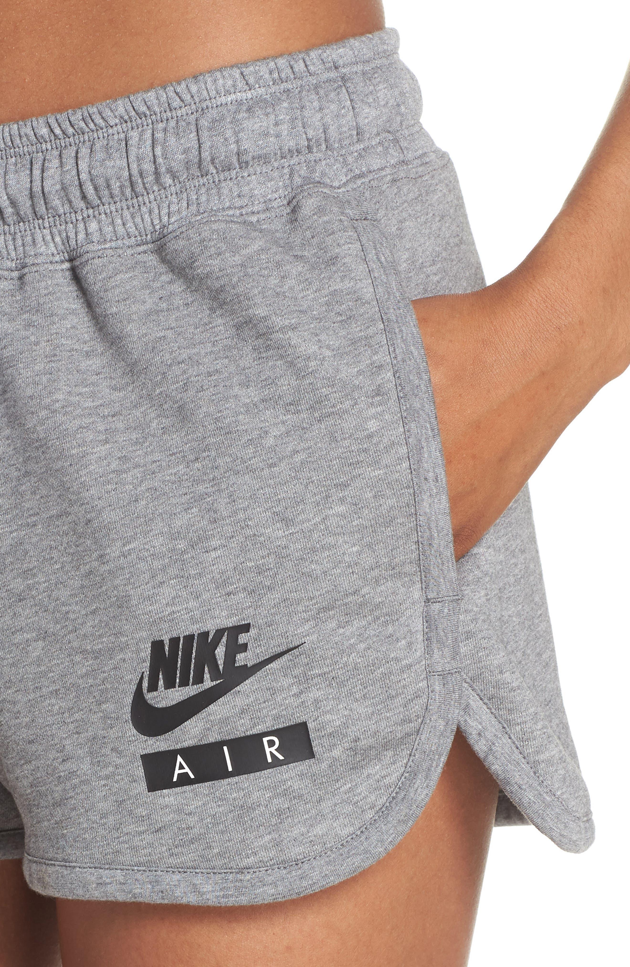 Sportswear Air Gym Shorts,                             Alternate thumbnail 4, color,                             Carbon Heather/ White/ Black