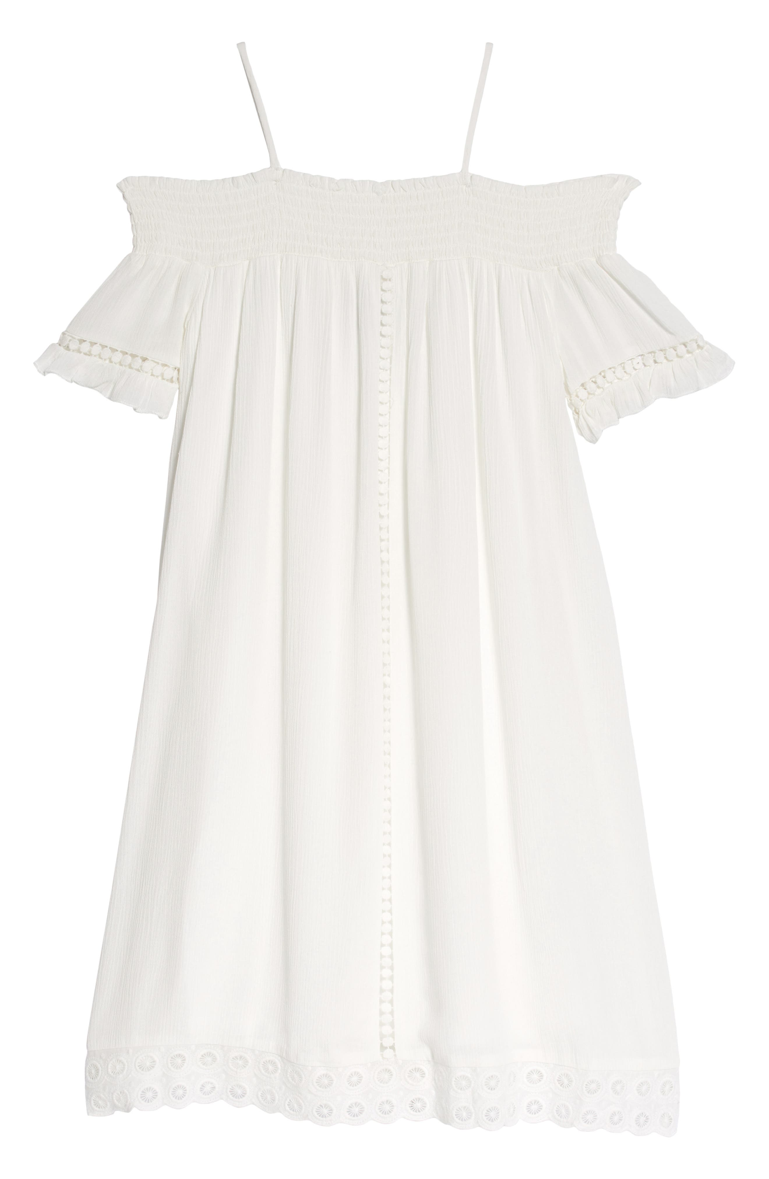 Woven Off the Shoulder Dress,                             Main thumbnail 1, color,                             White