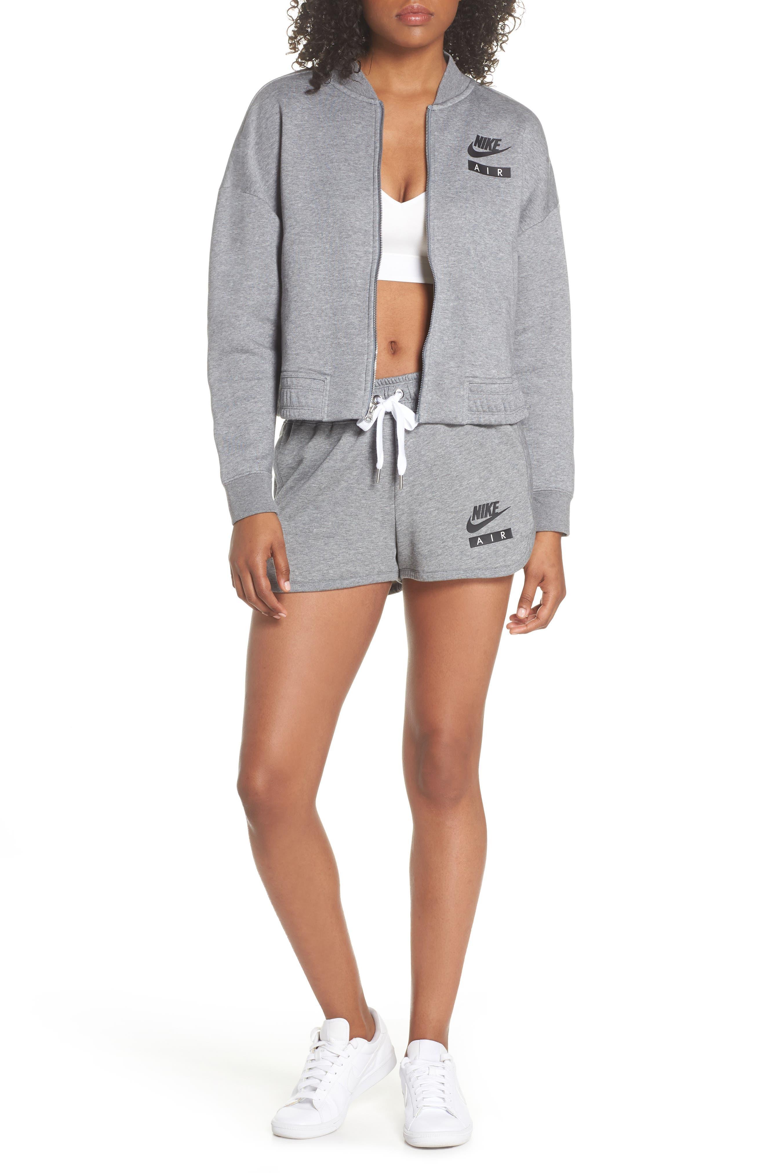 Sportswear Air Gym Shorts,                             Alternate thumbnail 6, color,                             Carbon Heather/ White/ Black