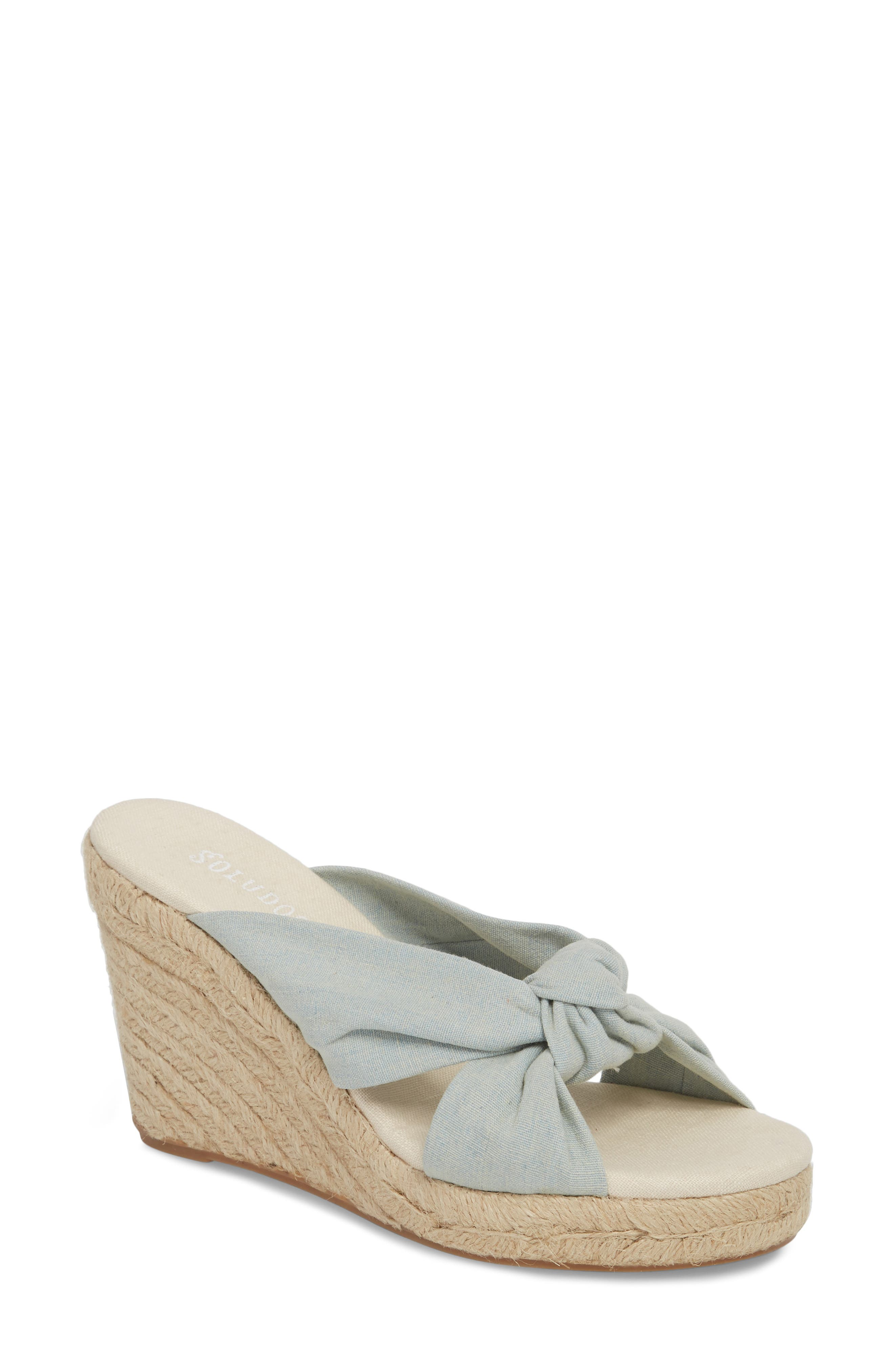 Knotted Espadrille Wedge Sandal,                         Main,                         color, Chambray