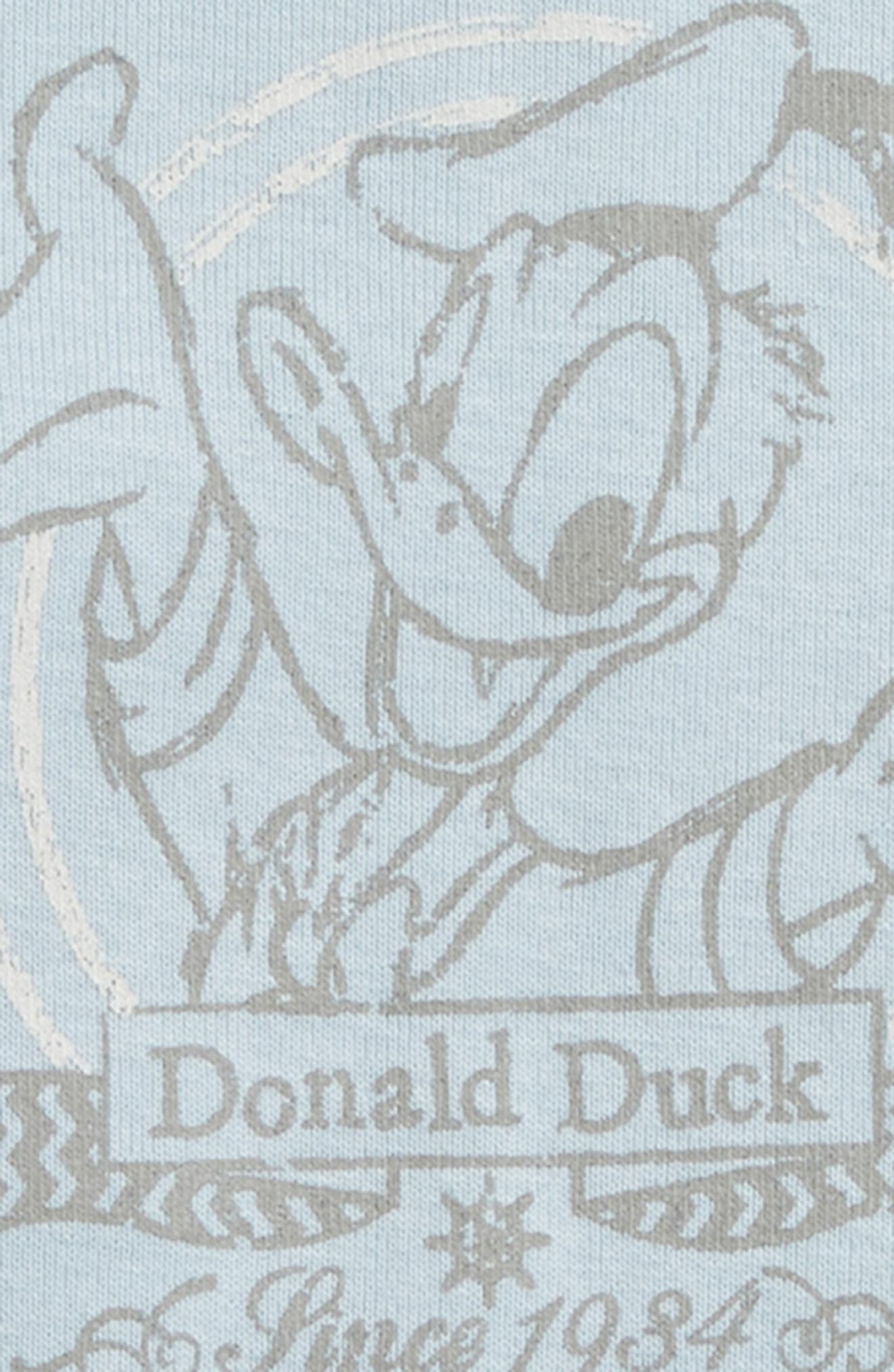 Disney Donald Duck Organic Cotton Bodysuit,                             Alternate thumbnail 2, color,                             Sky