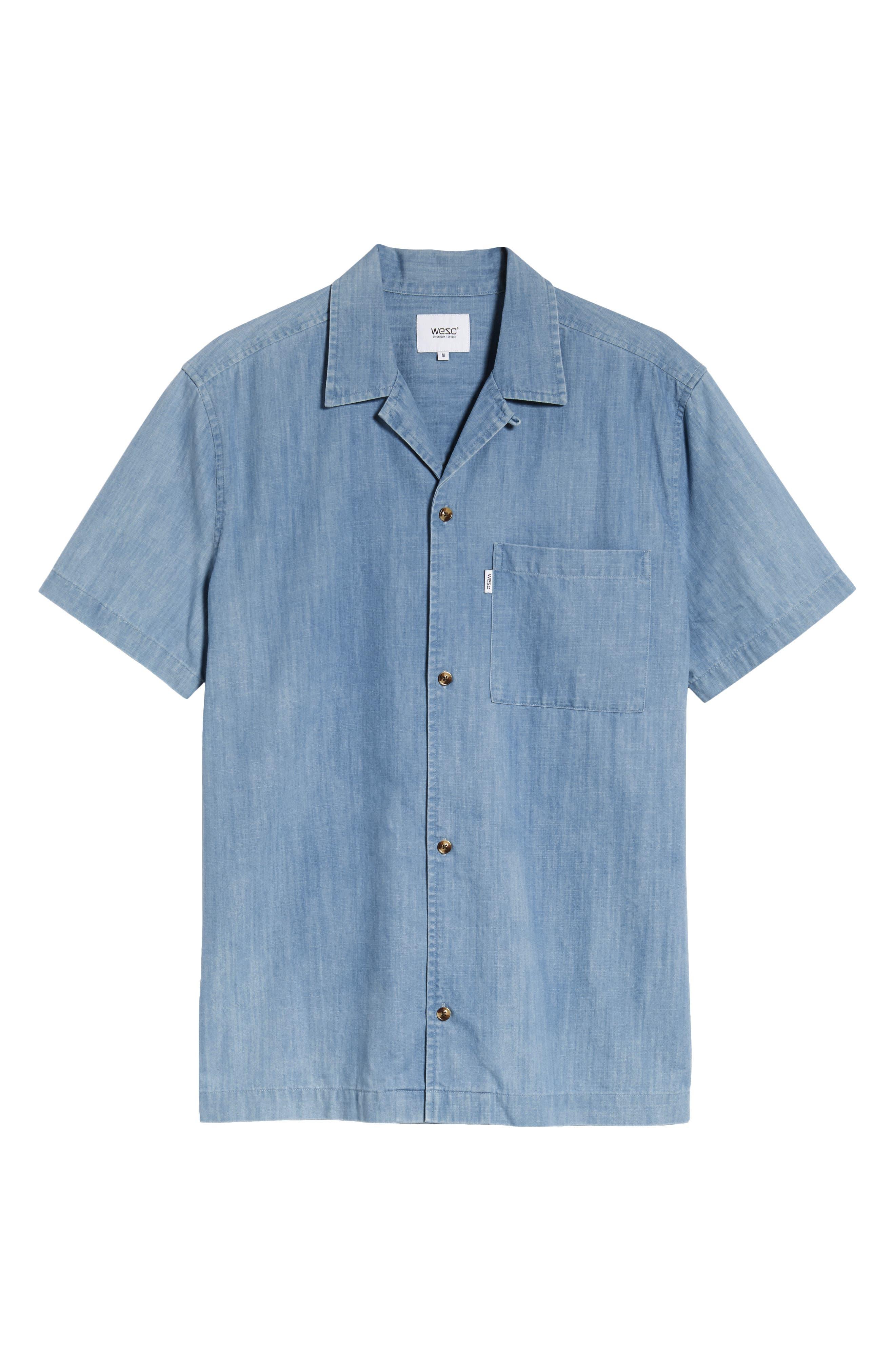 Nevin Short Sleeve Denim Shirt,                             Alternate thumbnail 6, color,                             Polar Blue