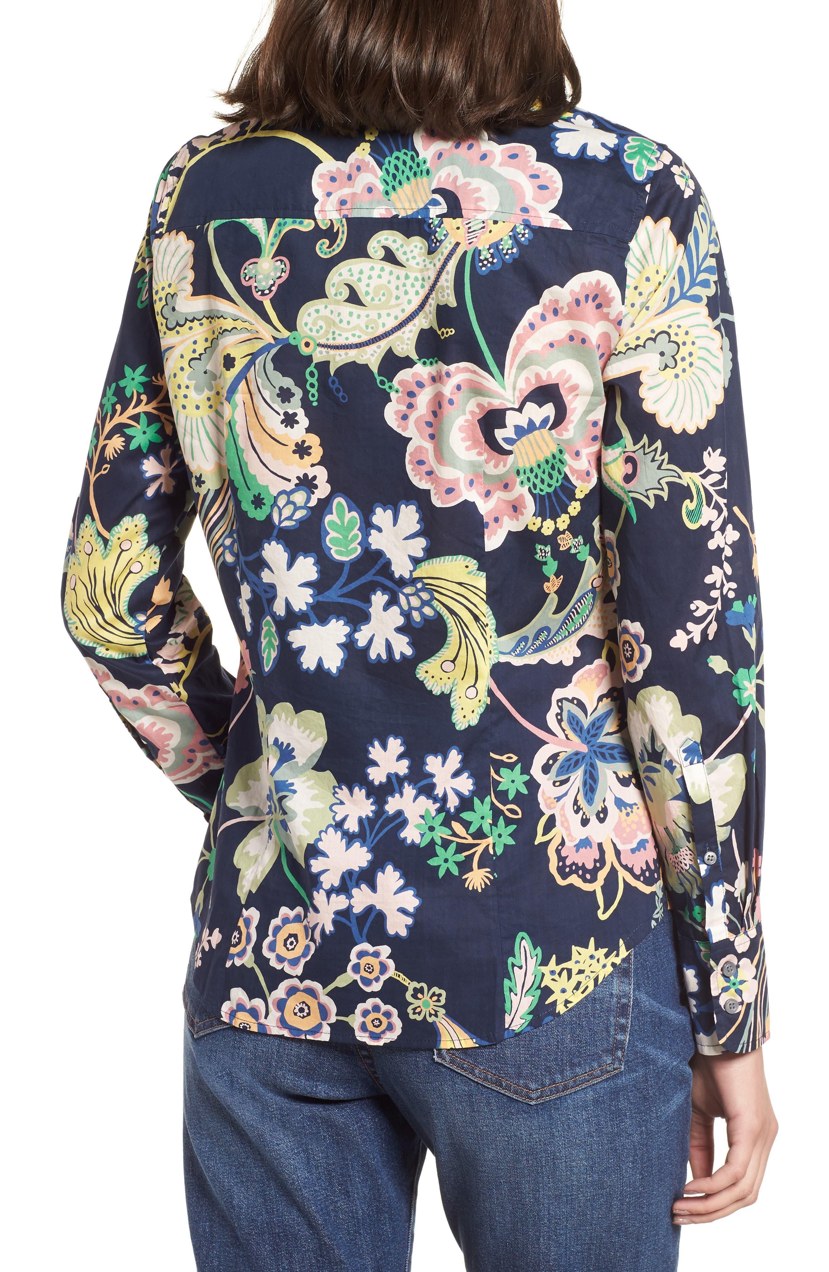 Perfect Liberty<sup>®</sup> Tana Lawn Shirt,                             Alternate thumbnail 2, color,                             Navy Multi
