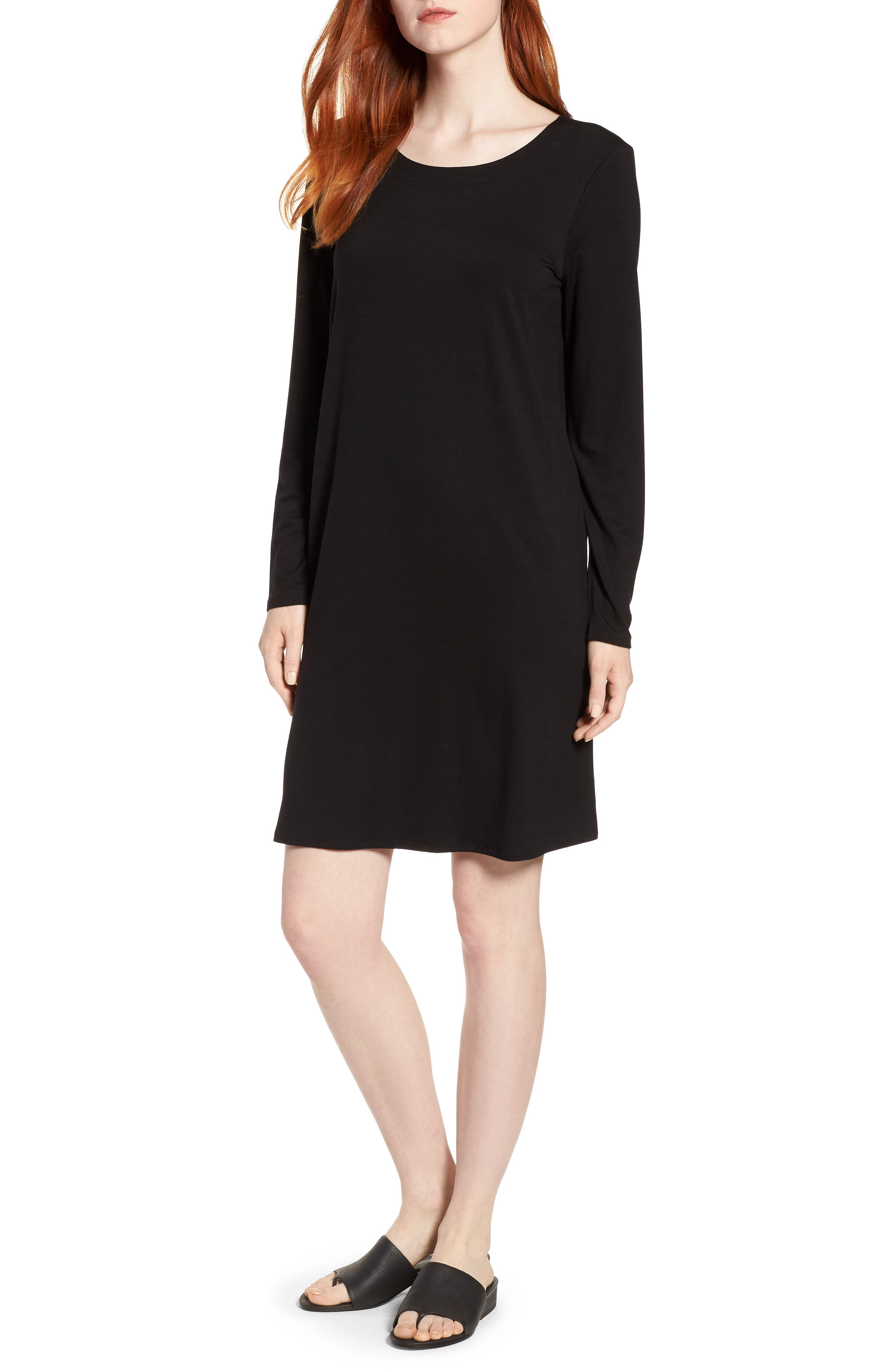 V-Back Stretch Tencel<sup>®</sup> Lyocell Shift Dress,                             Main thumbnail 1, color,                             Black