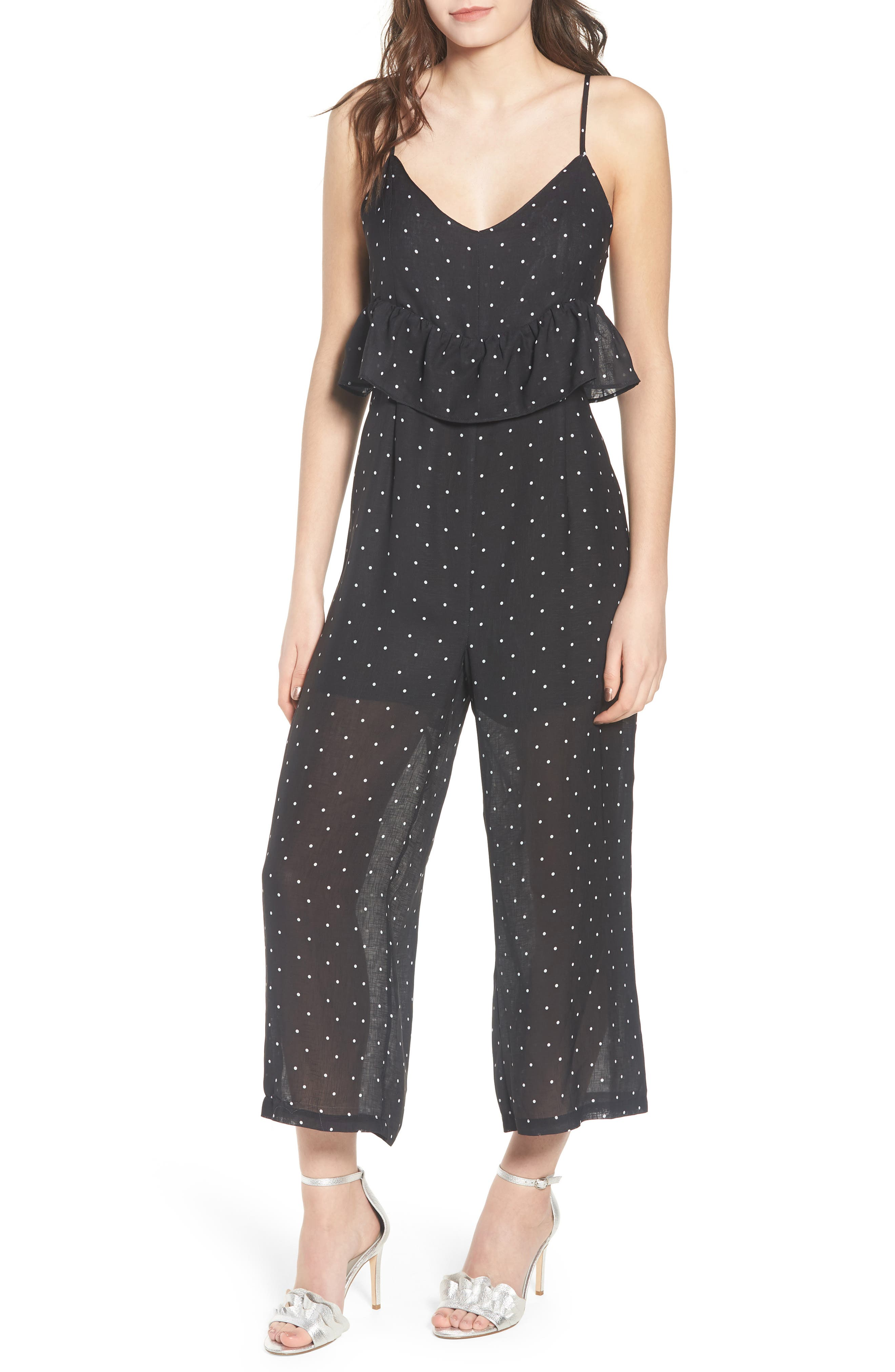 Polka Dot Frill Waist Jumpsuit,                             Main thumbnail 1, color,                             Black
