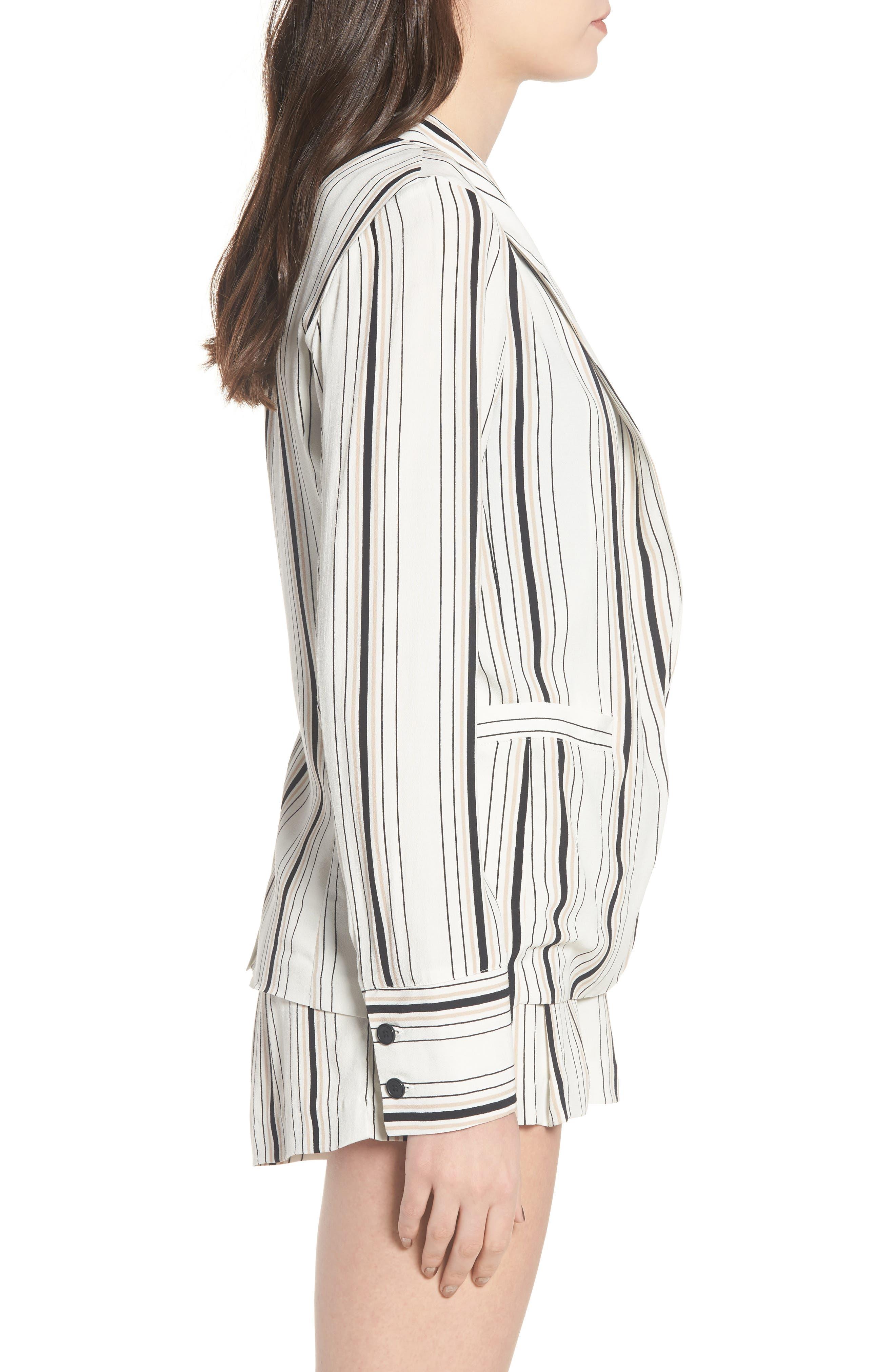 Stripe Blazer,                             Alternate thumbnail 4, color,                             Ivory Stripe