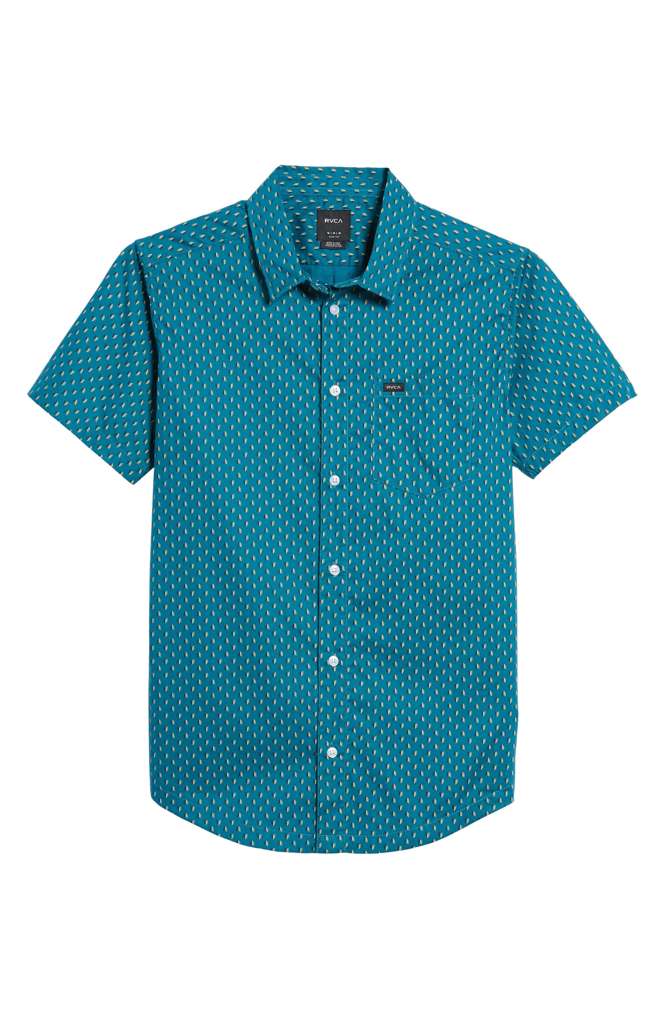 Arrowed Woven Shirt,                             Alternate thumbnail 6, color,                             Blue Tide