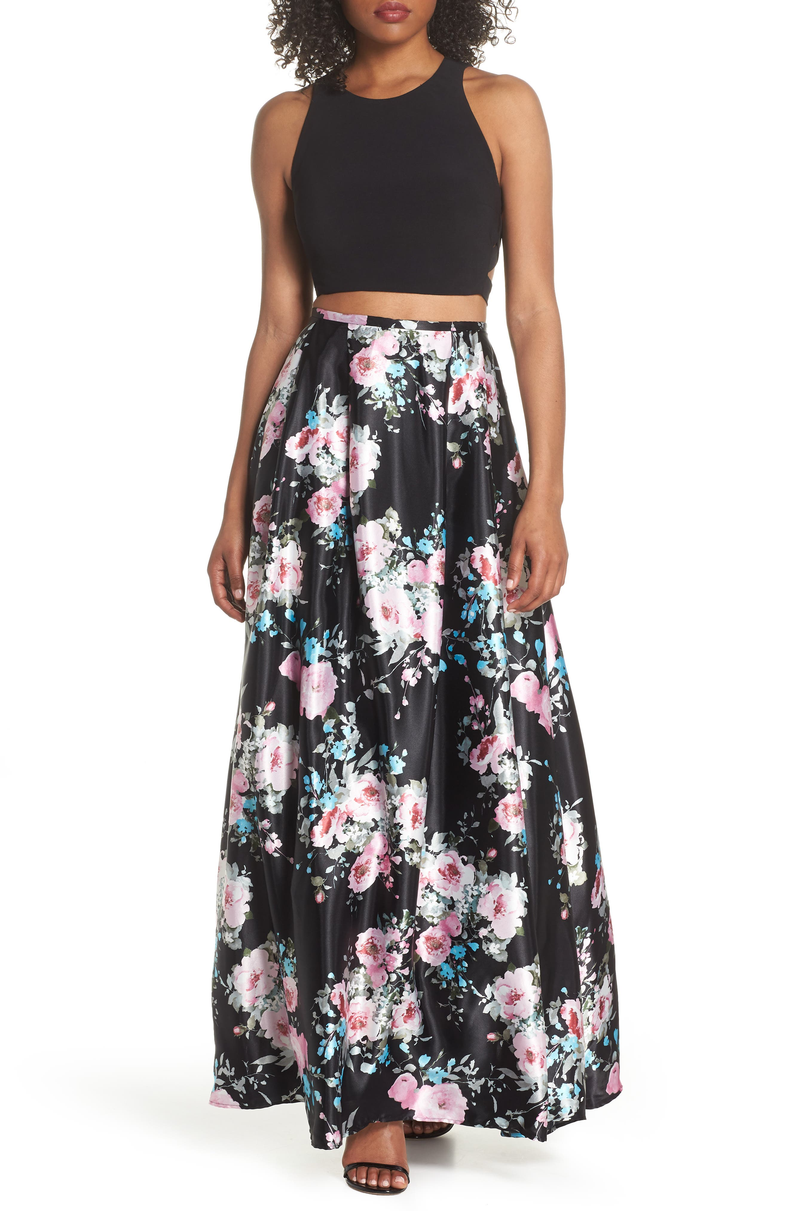 Two-Piece Ballgown,                         Main,                         color, Black/ Floral