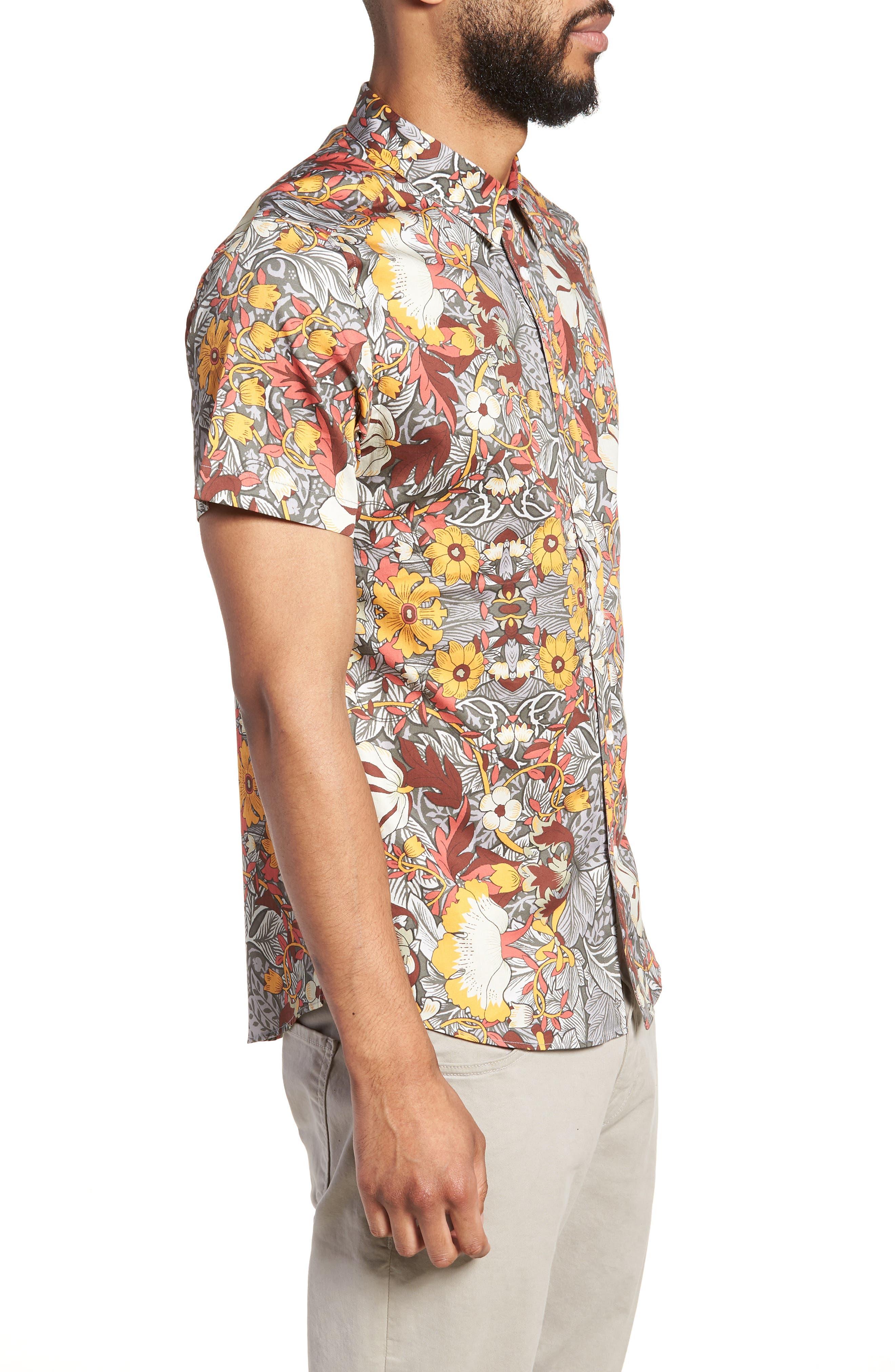Trim Fit Woven Short Sleeve Shirt,                             Alternate thumbnail 3, color,                             Grey