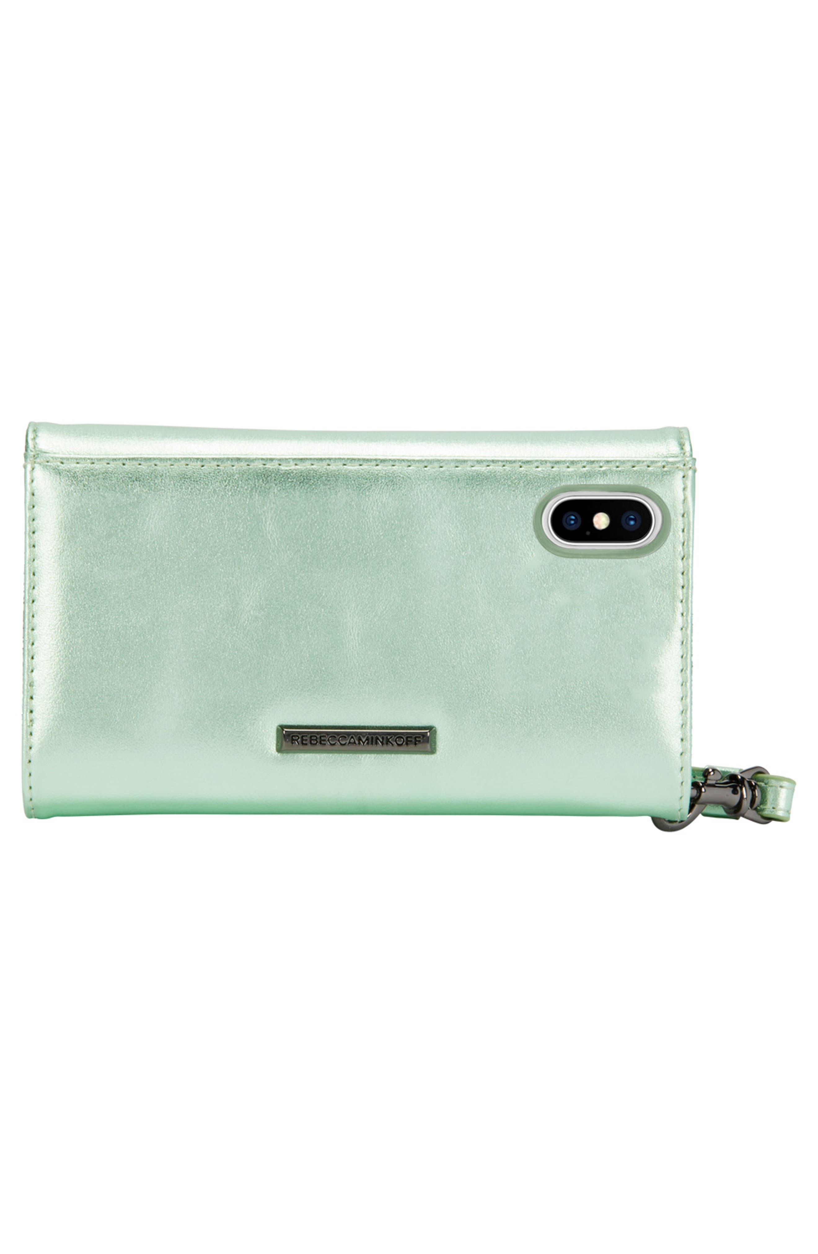 Love Lock iPhone X Leather Wristlet Folio,                             Alternate thumbnail 3, color,                             Metallic Mint