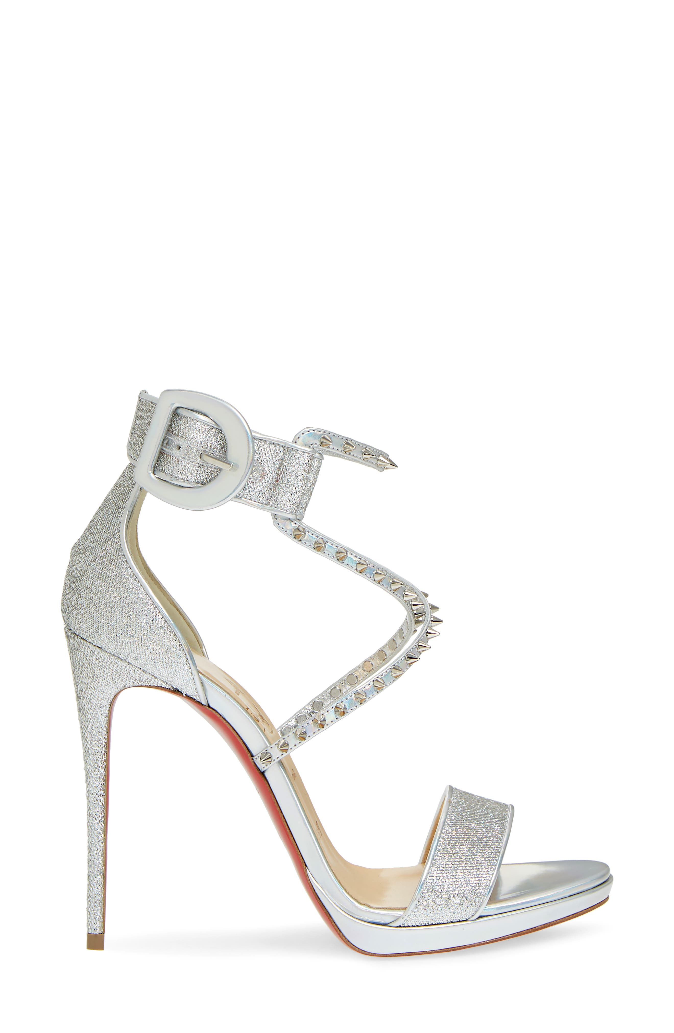 Choca Lux Spiked Sandal,                             Alternate thumbnail 3, color,                             Silver