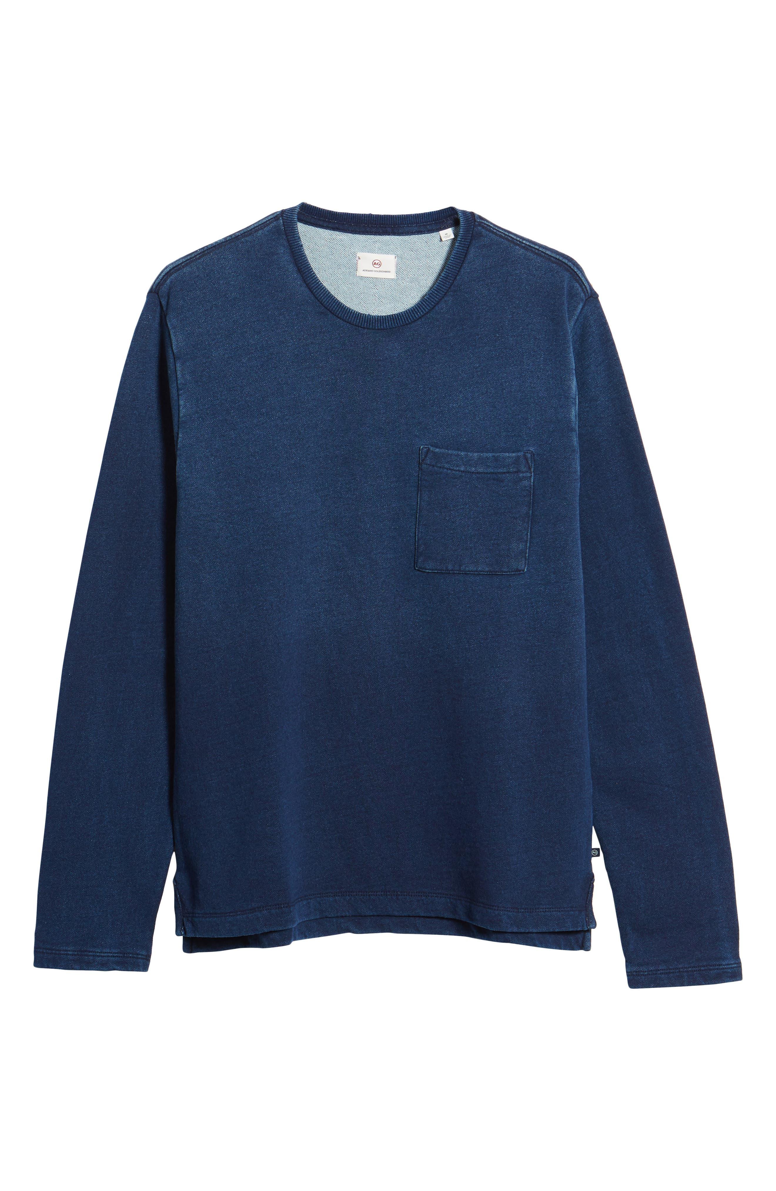 Byron Crewneck Cotton Pocket Sweatshirt,                             Alternate thumbnail 6, color,                             Harbor