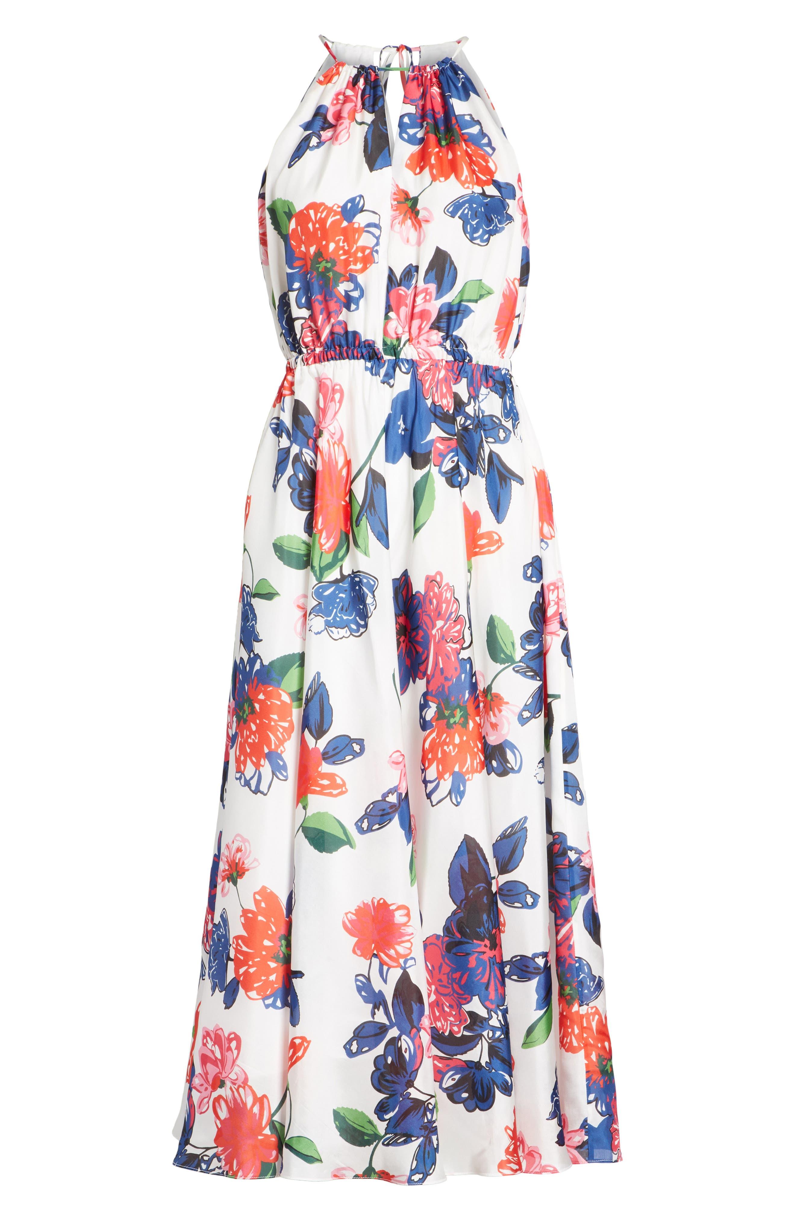 Floral Print Double Keyhole Silk Dress,                             Alternate thumbnail 6, color,                             Multi