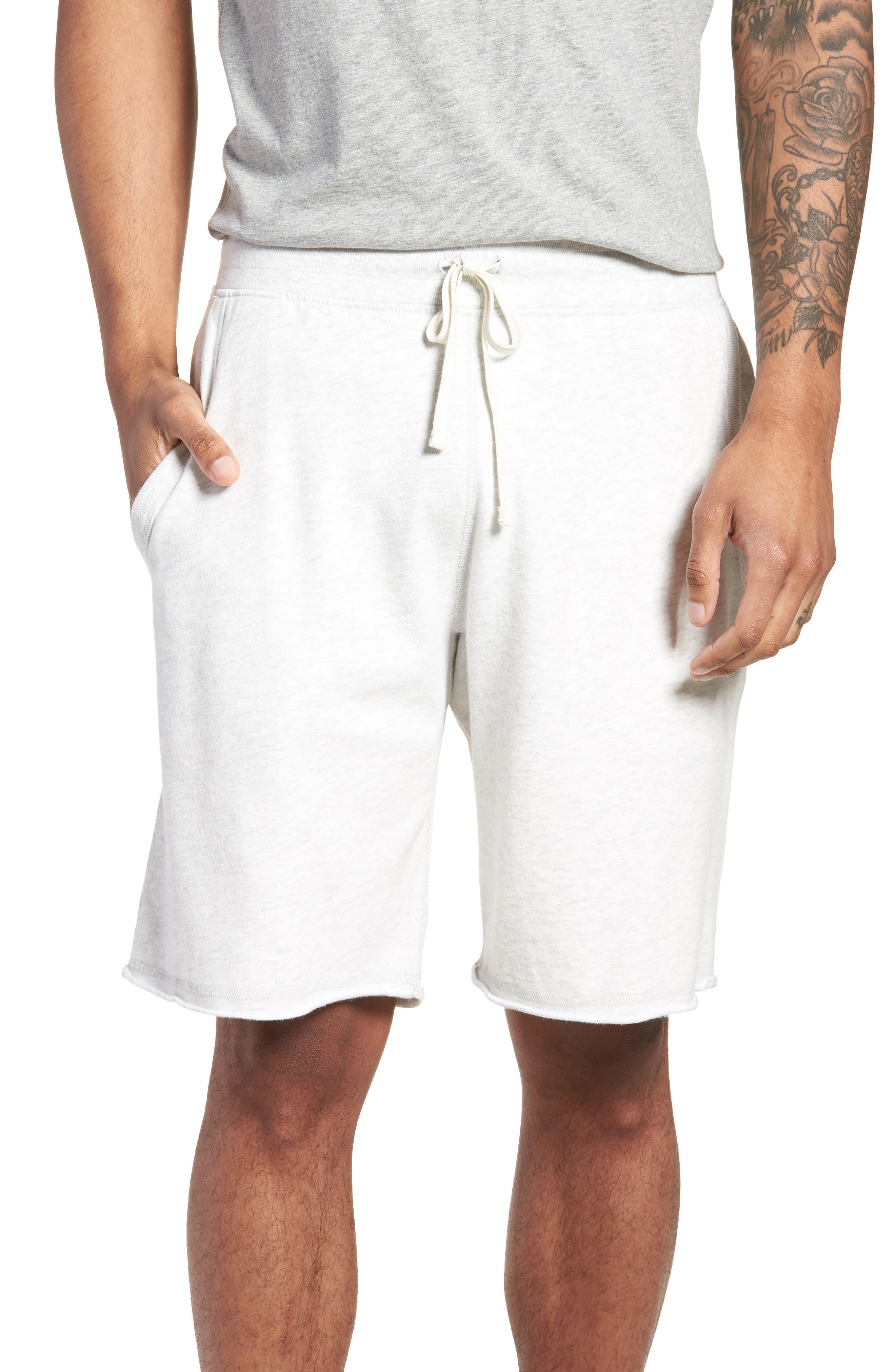 Raw Edge Drawstring Shorts,                         Main,                         color, H. Ash