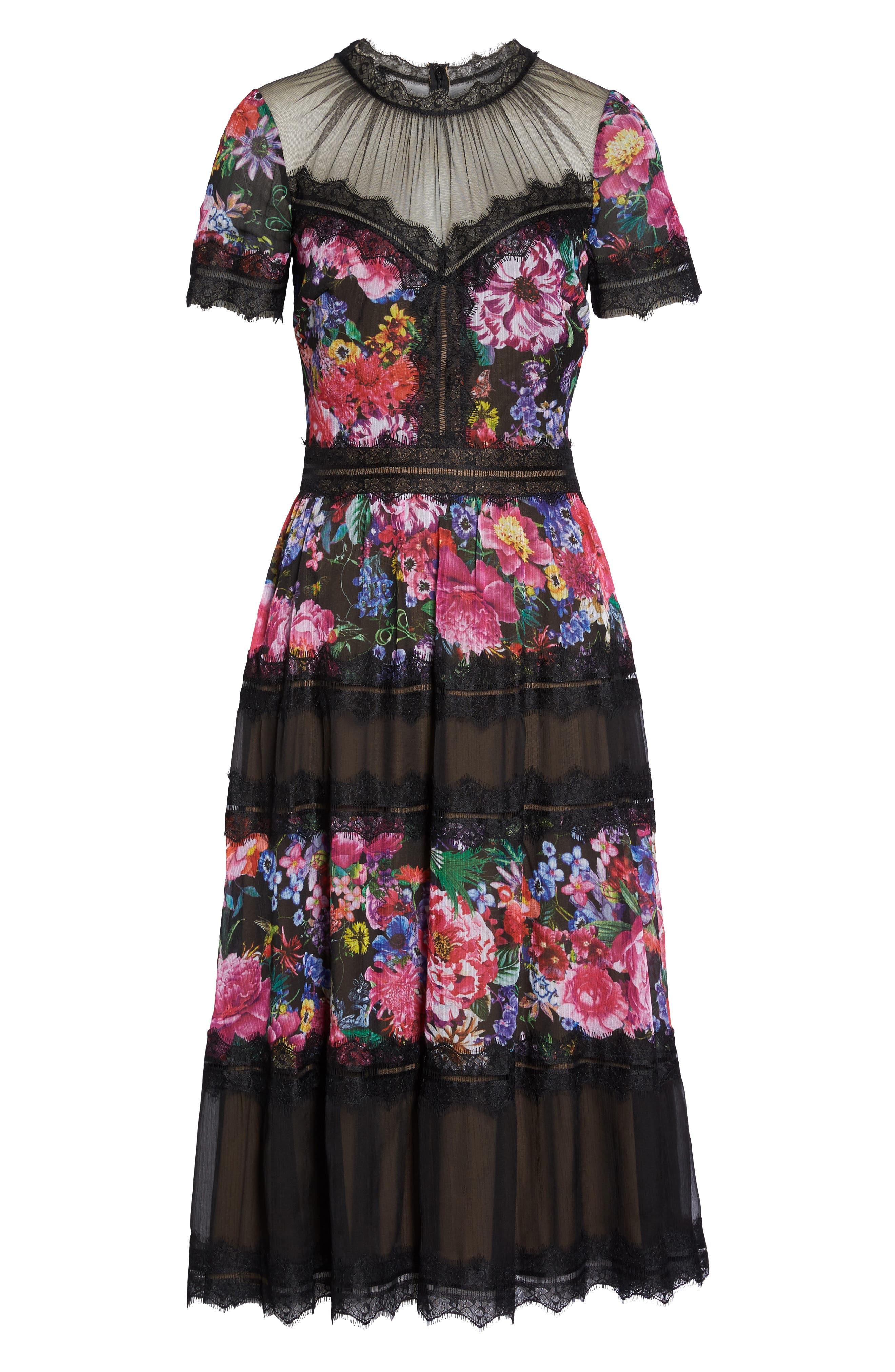 Lace Floral Midi Dress,                             Alternate thumbnail 6, color,                             Black/ Floral