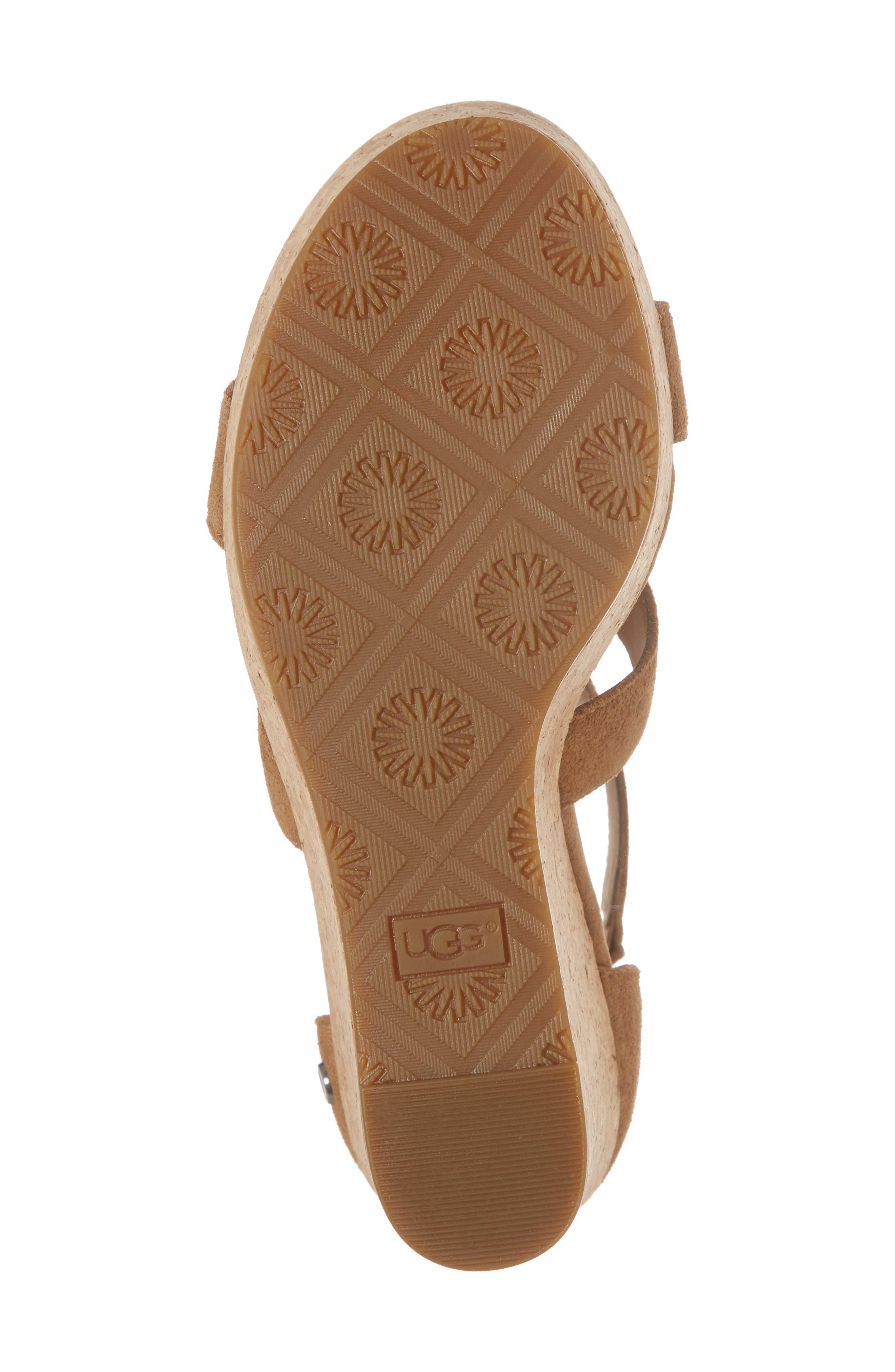 Whitney Platform Wedge Sandal,                             Alternate thumbnail 6, color,                             Chestnut