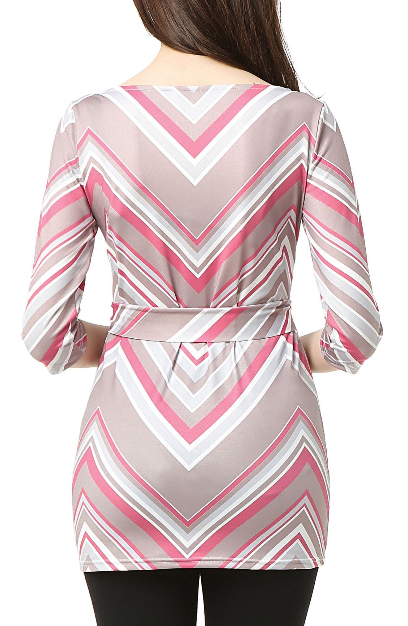Delia Chevron Maternity Top,                             Alternate thumbnail 2, color,                             Multicolored Stripe