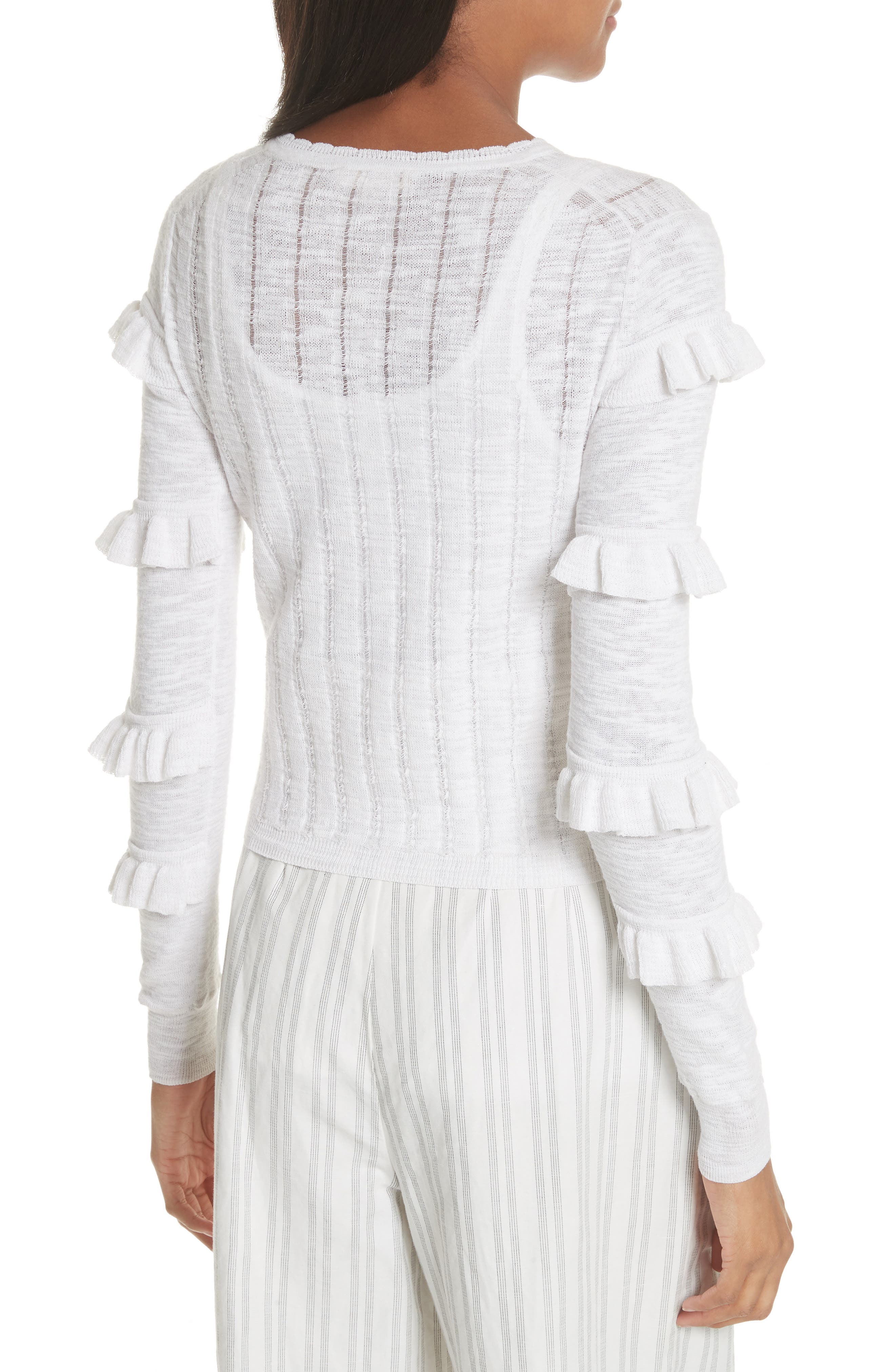 Tiered Ruffle Sleeve Cotton Blend Cardigan,                             Alternate thumbnail 2, color,                             Snow