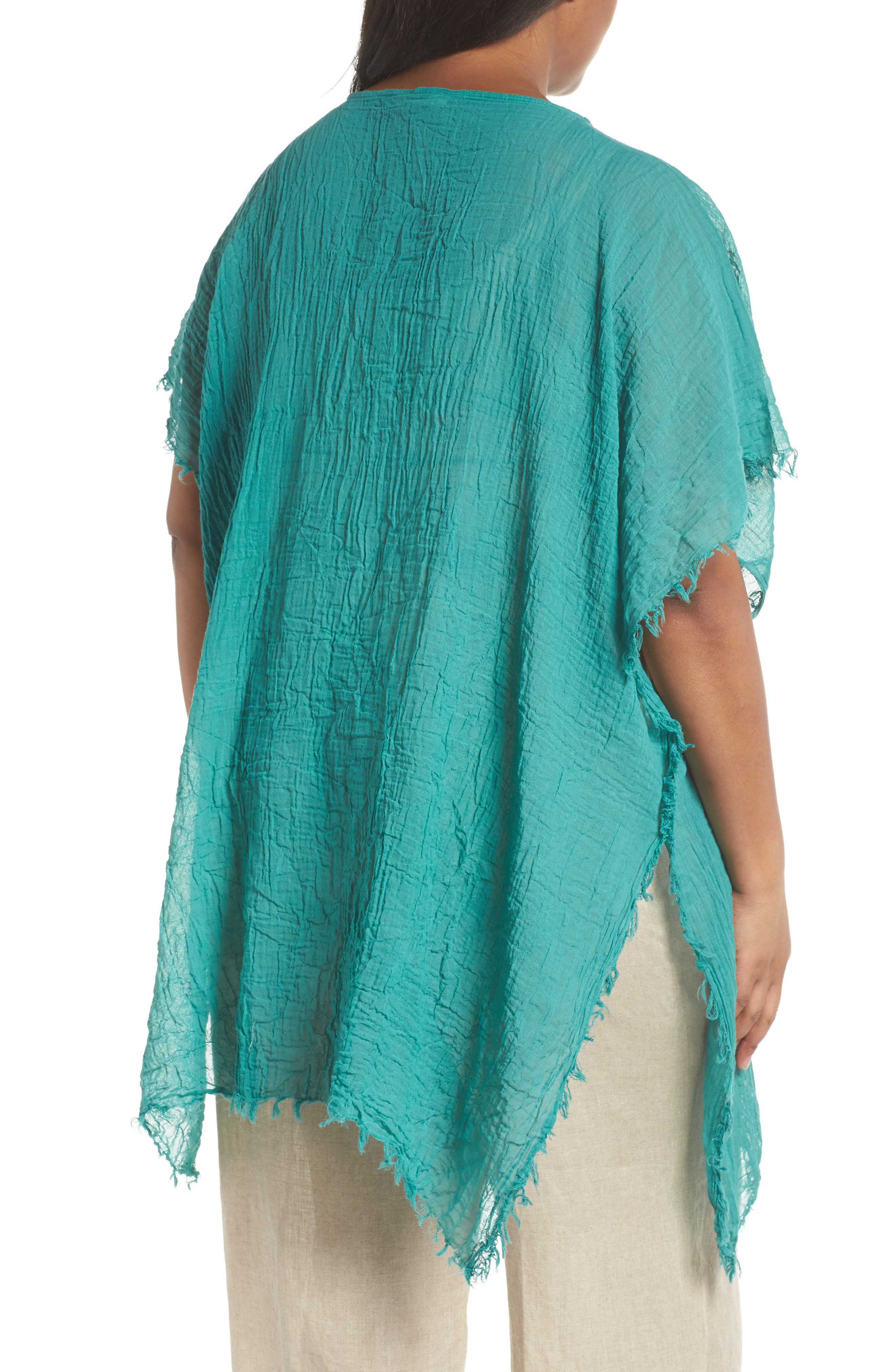 Organic Cotton Poncho,                             Alternate thumbnail 2, color,                             Turquoise