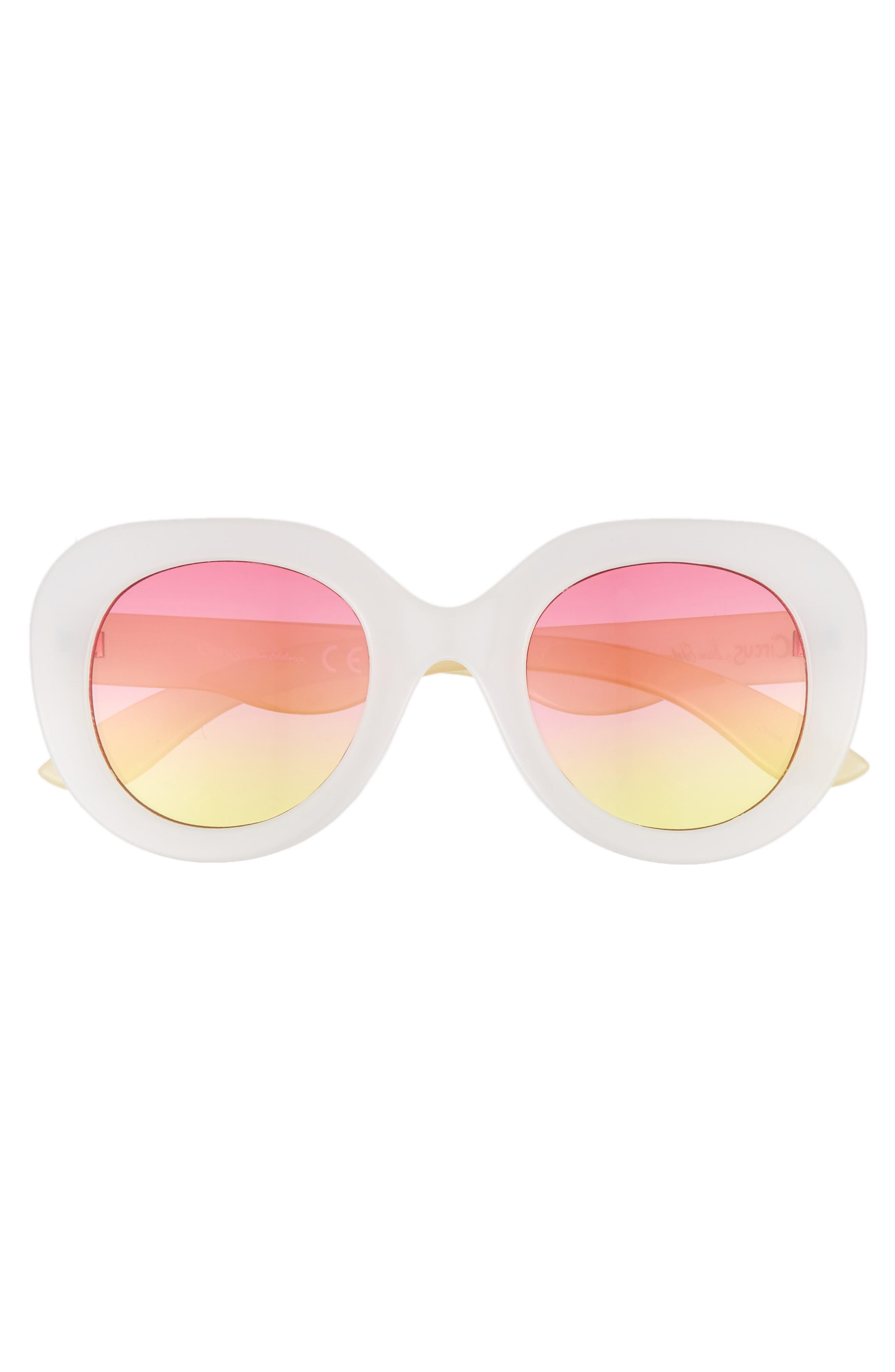 45mm Round Sunglasses,                             Alternate thumbnail 3, color,                             White/ Yellow