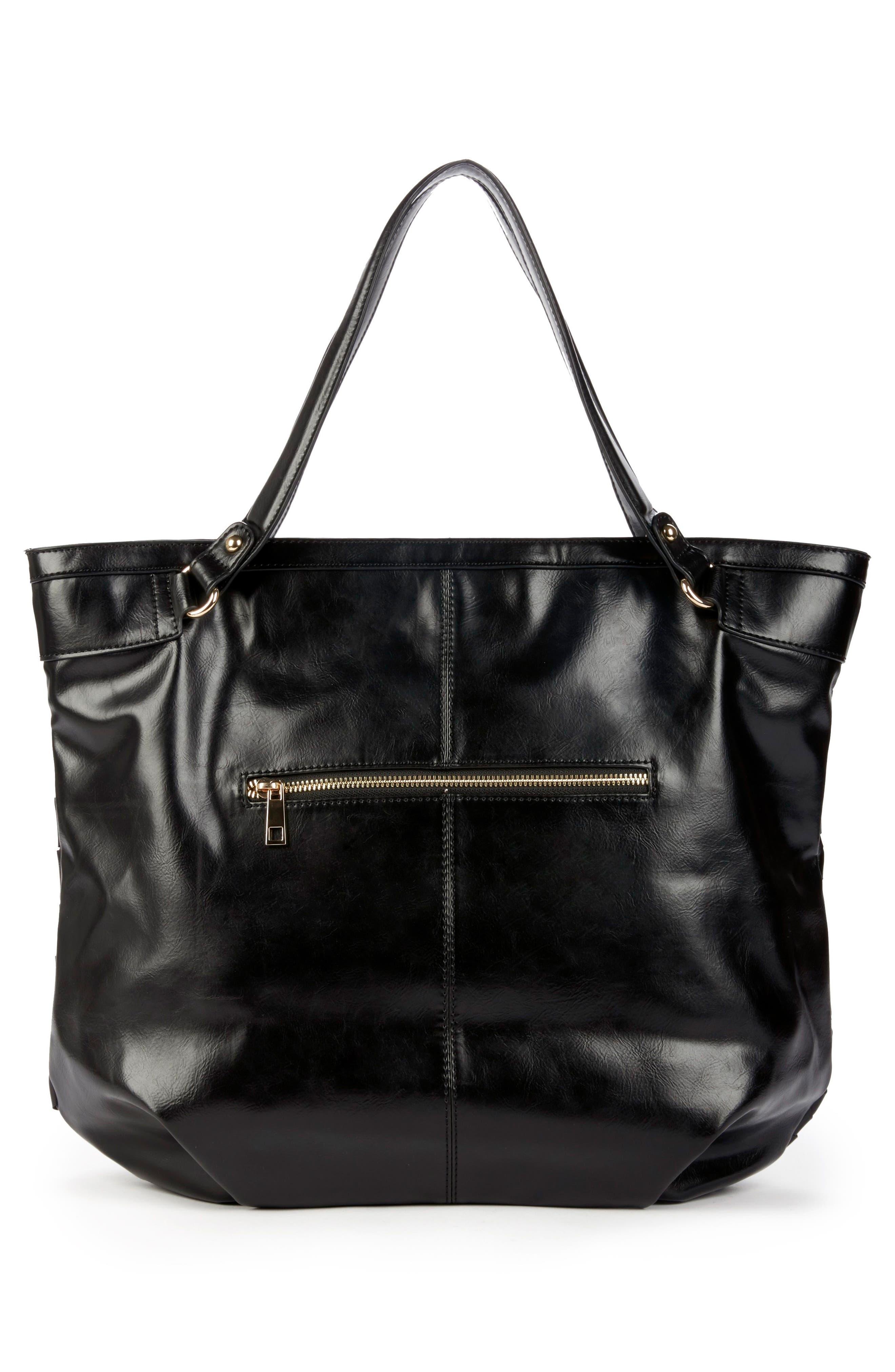 Adrina Faux Leather Tote,                             Alternate thumbnail 2, color,                             Black