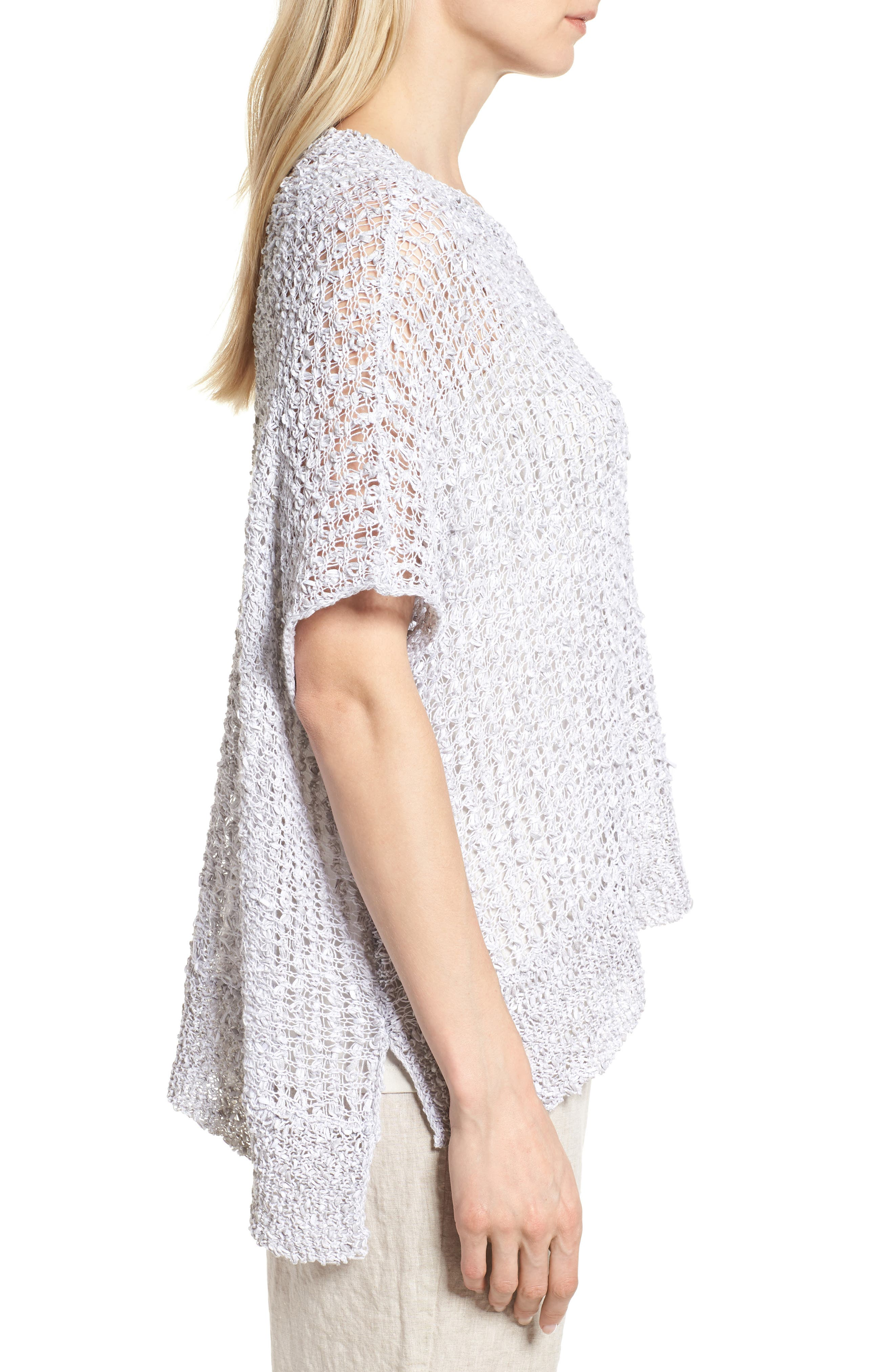 Organic Cotton & Linen Crochet Top,                             Alternate thumbnail 3, color,                             Dark Pearl