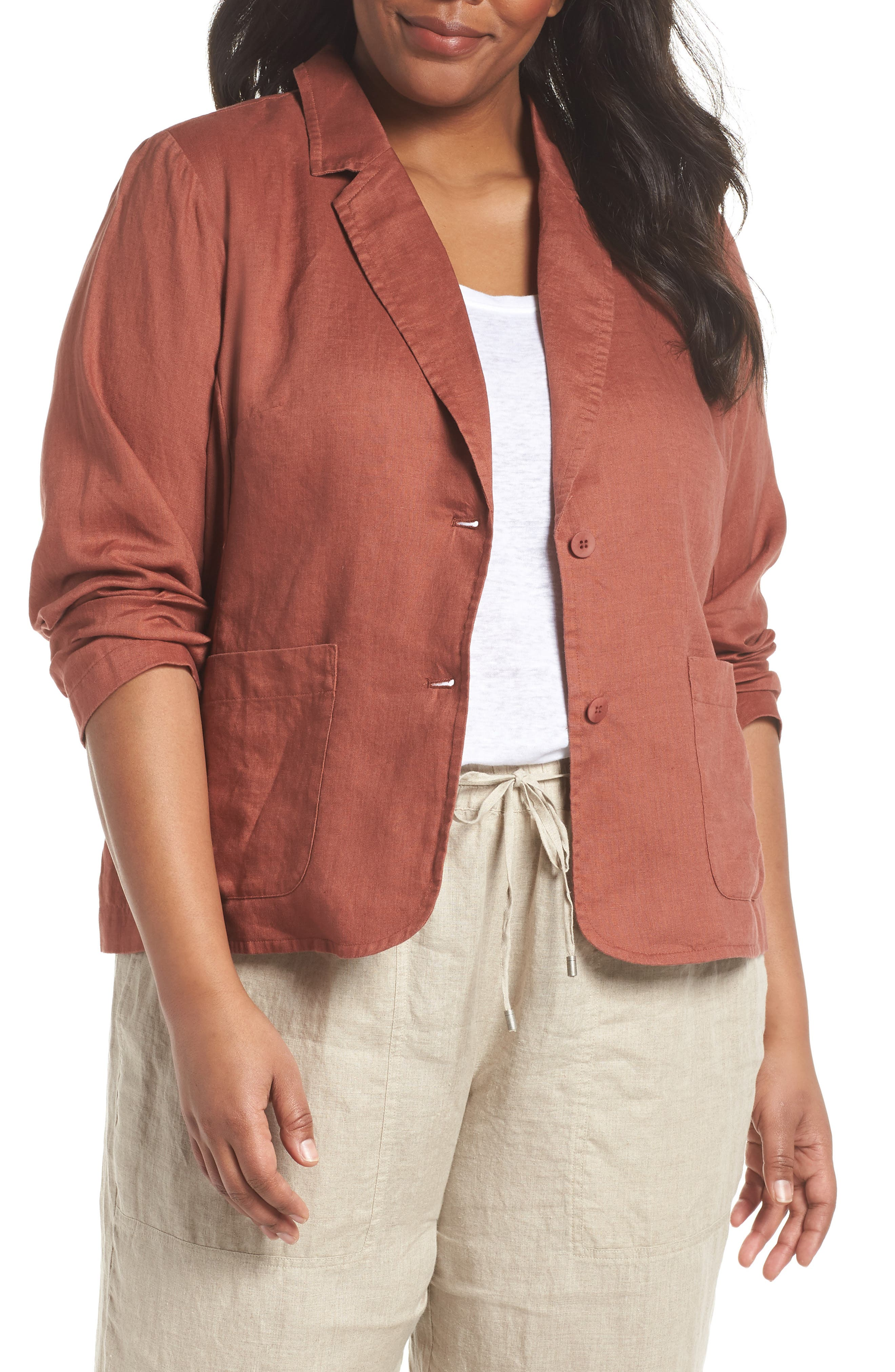 Alternate Image 1 Selected - Eileen Fisher Organic Linen Blazer (Plus Size)