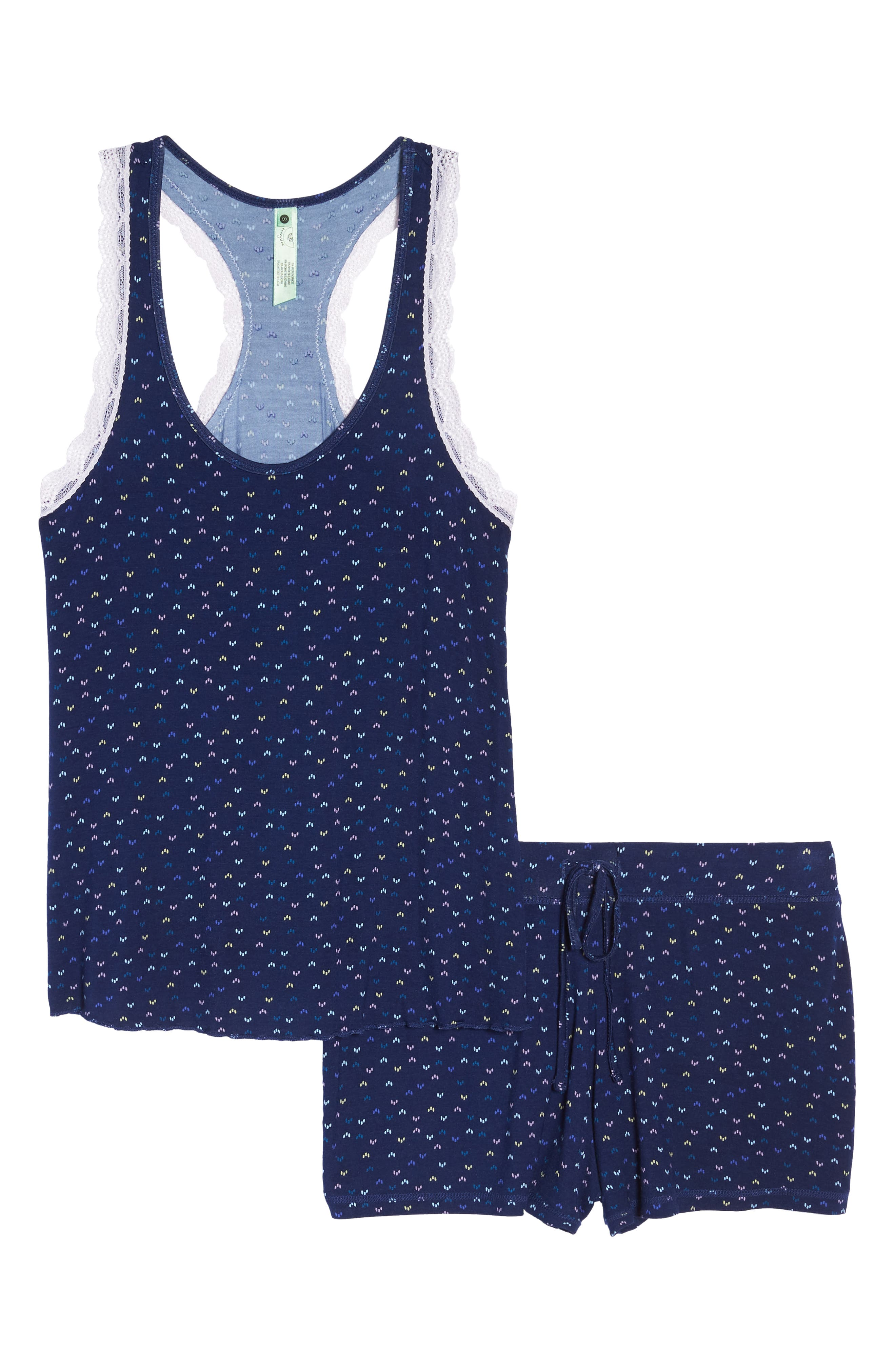 All American Lace Trim Short Pajamas,                             Alternate thumbnail 6, color,                             Midnight Moon