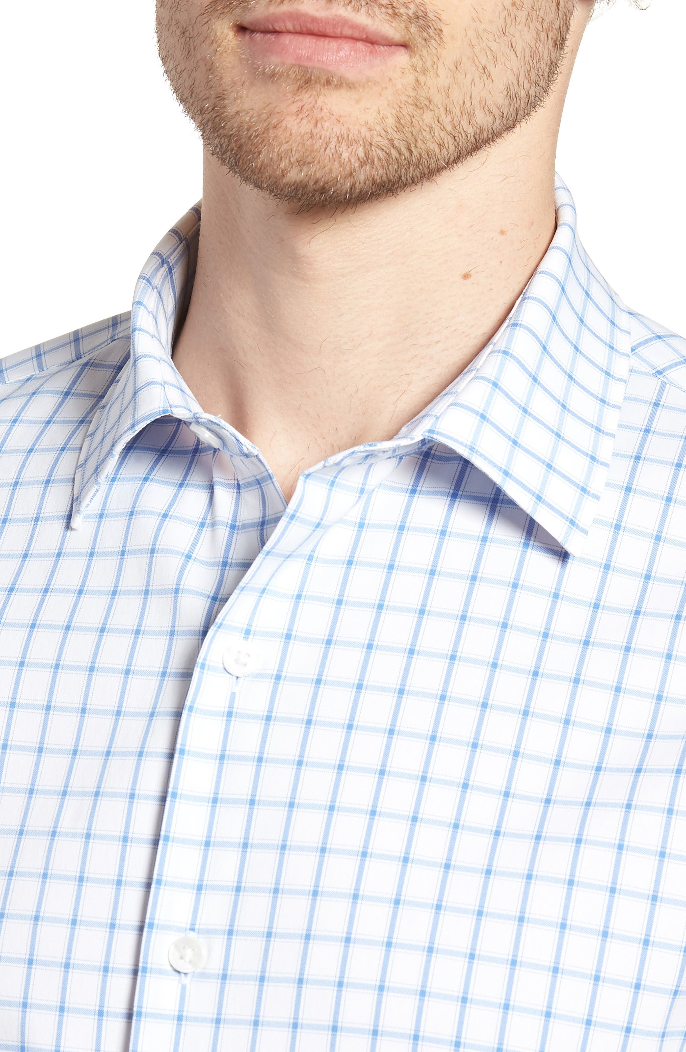 Slim Fit Check Performance Sport Shirt,                             Alternate thumbnail 2, color,                             Bray Oxford - Peony Coral