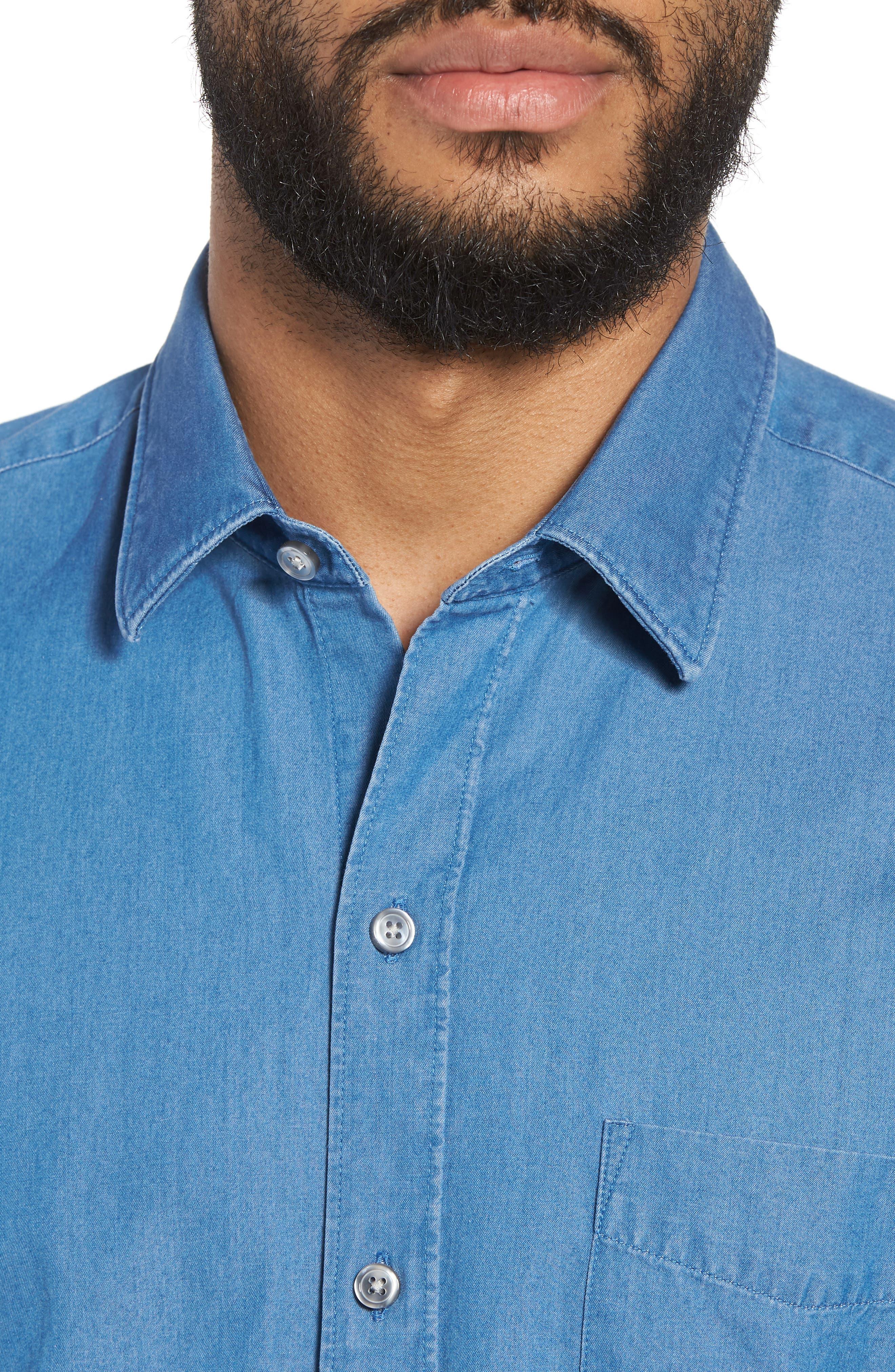 Robb Trim Fit Denim Short Sleeve Sport Shirt,                             Alternate thumbnail 4, color,                             Blue
