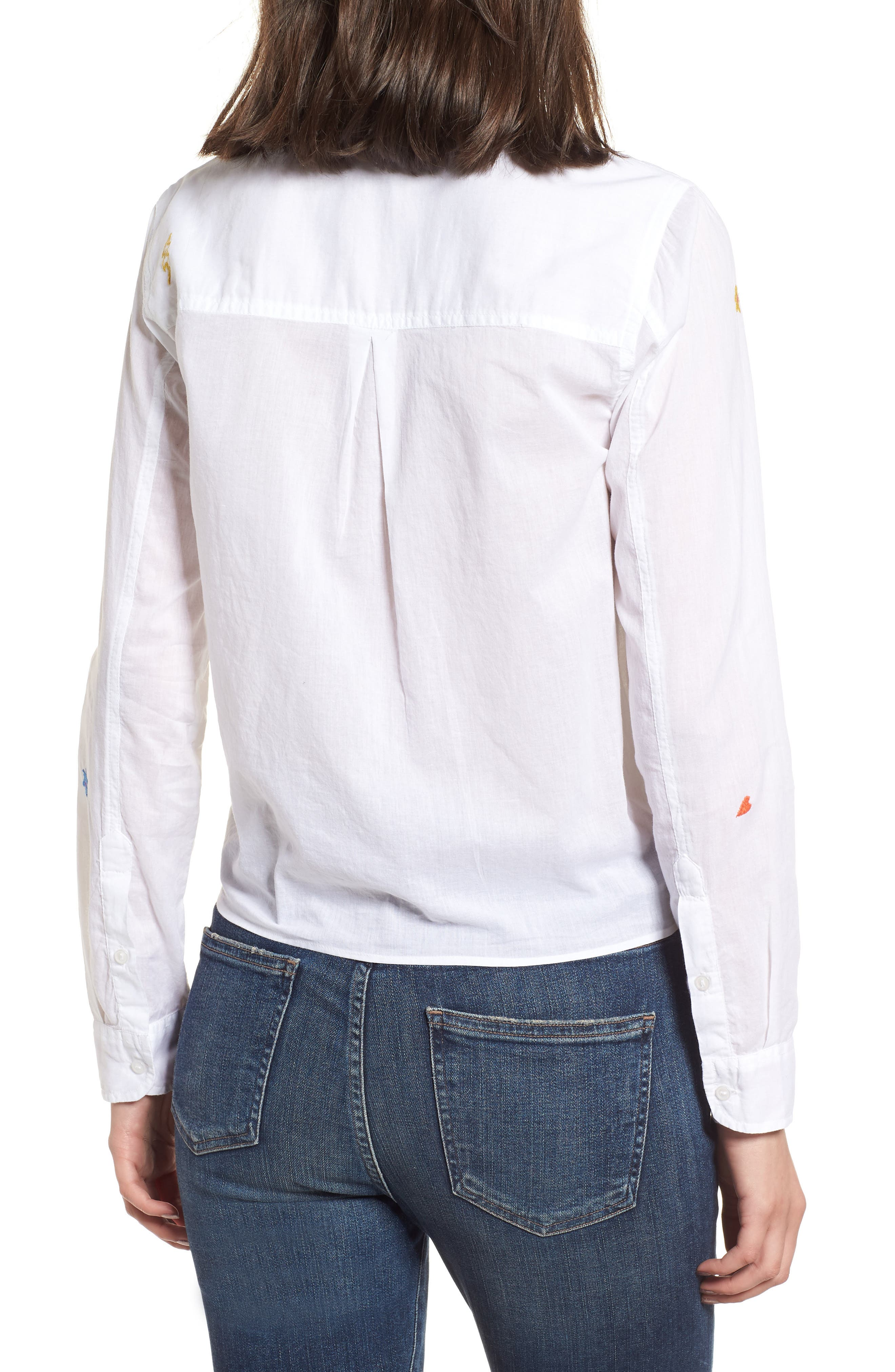 Tie Front Shirt,                             Alternate thumbnail 2, color,                             White