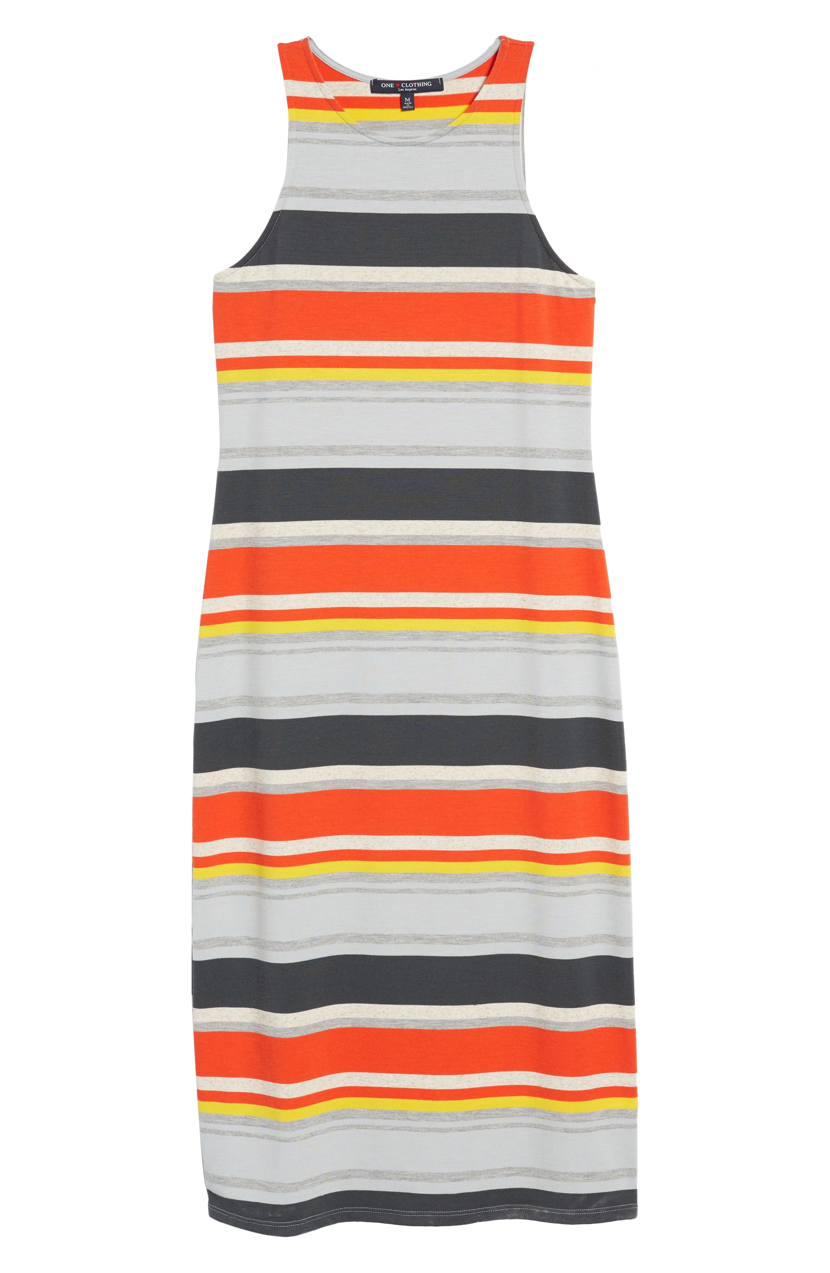 Stripe Midi Dress,                             Alternate thumbnail 7, color,                             Orange Multi