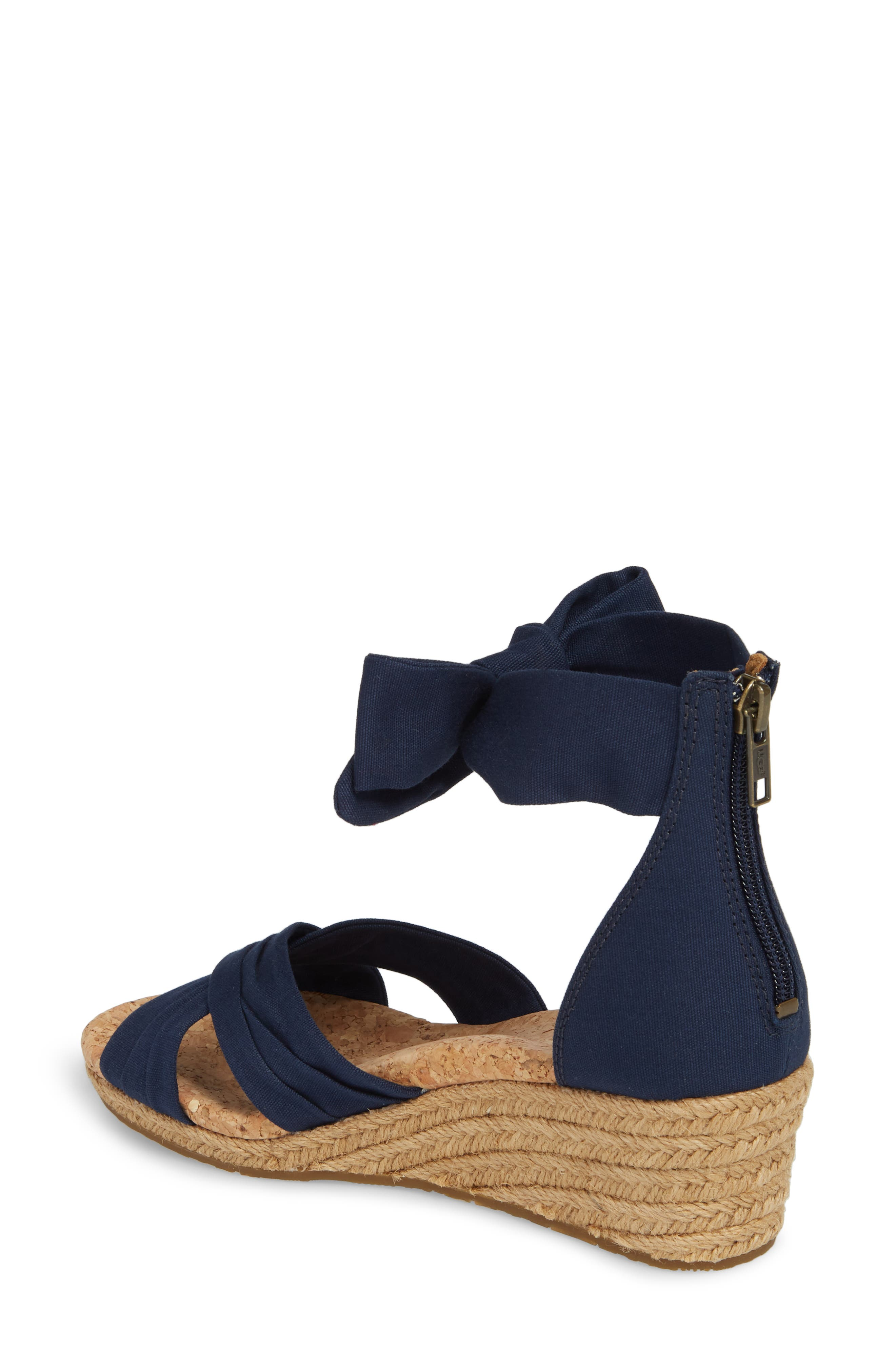 Traci Espadrille Wedge Sandal,                             Alternate thumbnail 2, color,                             Navy