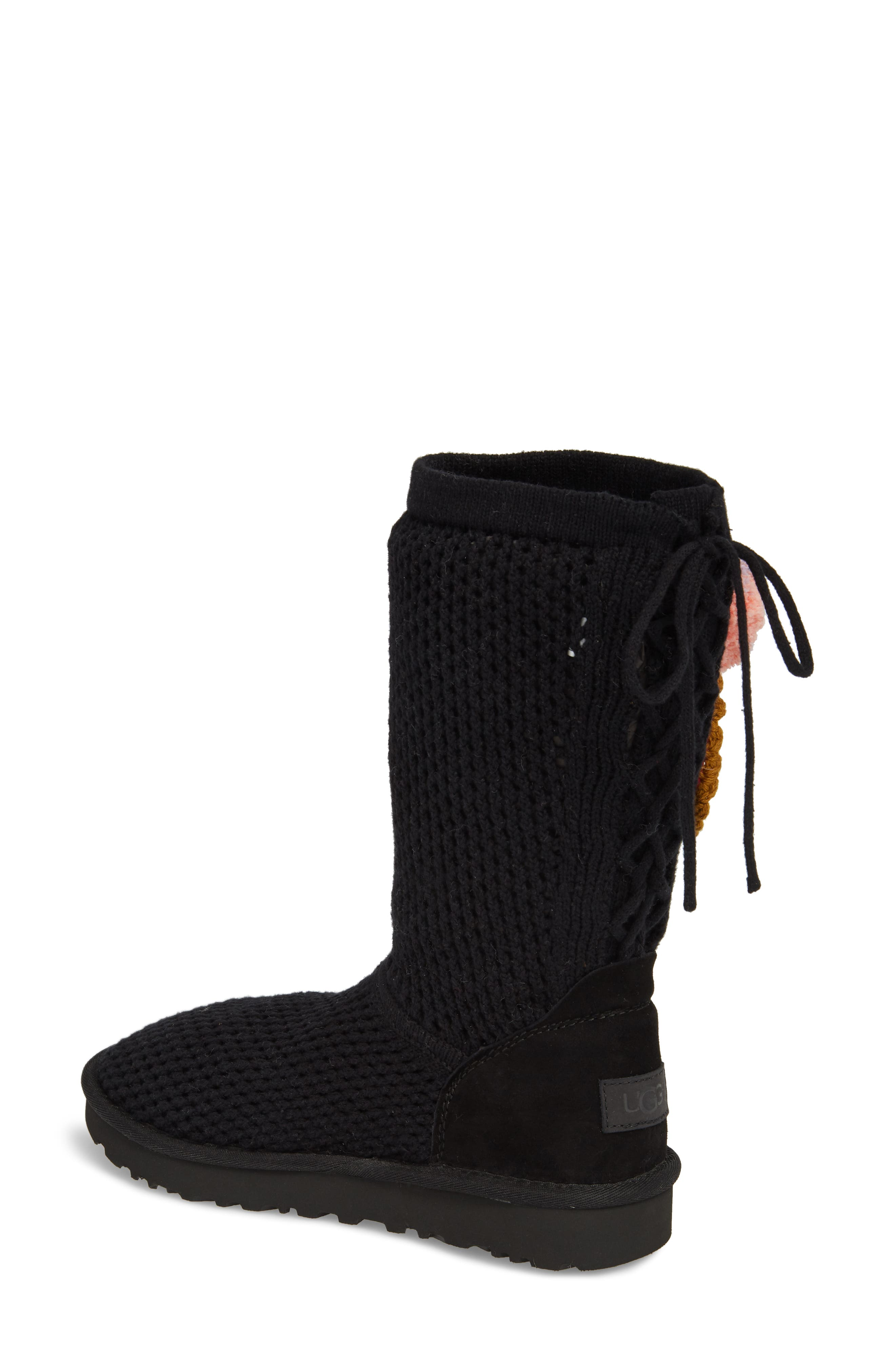 Crochet Classic Tall Boot,                             Alternate thumbnail 2, color,                             Black