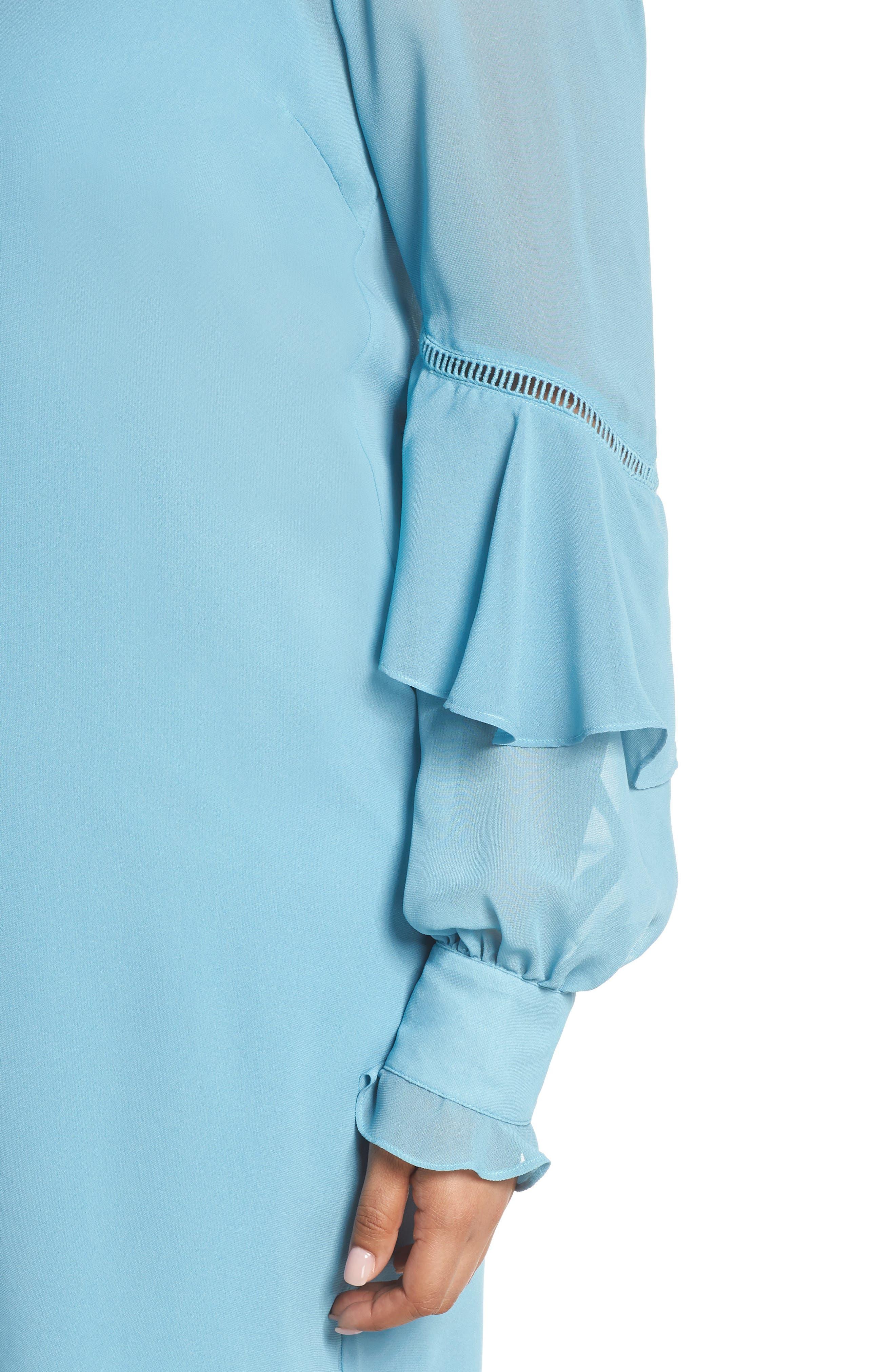 Galaxy Waters Ruffle Sleeve Shift Dress,                             Alternate thumbnail 4, color,                             Still Water