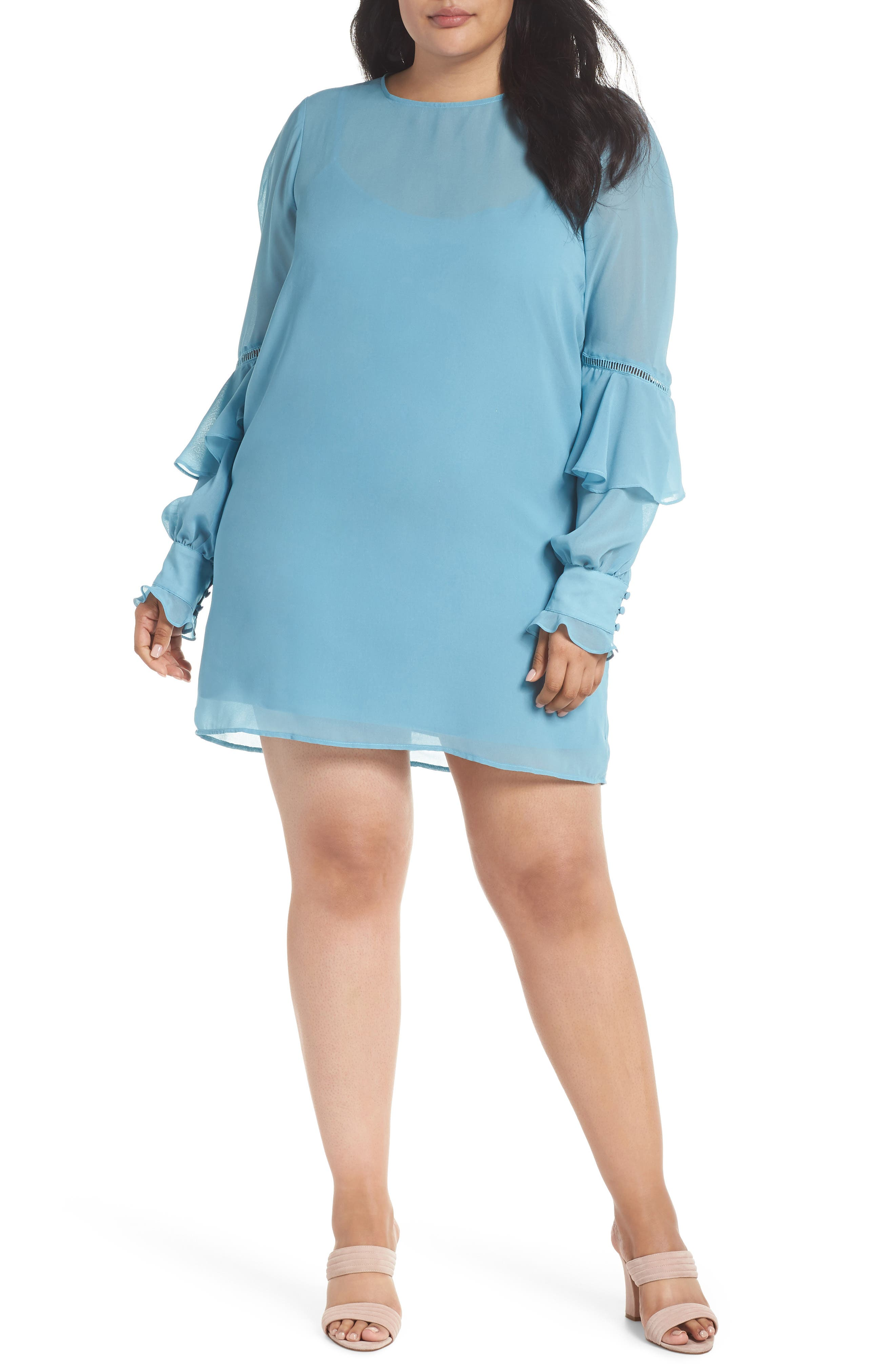 Galaxy Waters Ruffle Sleeve Shift Dress,                         Main,                         color, Still Water