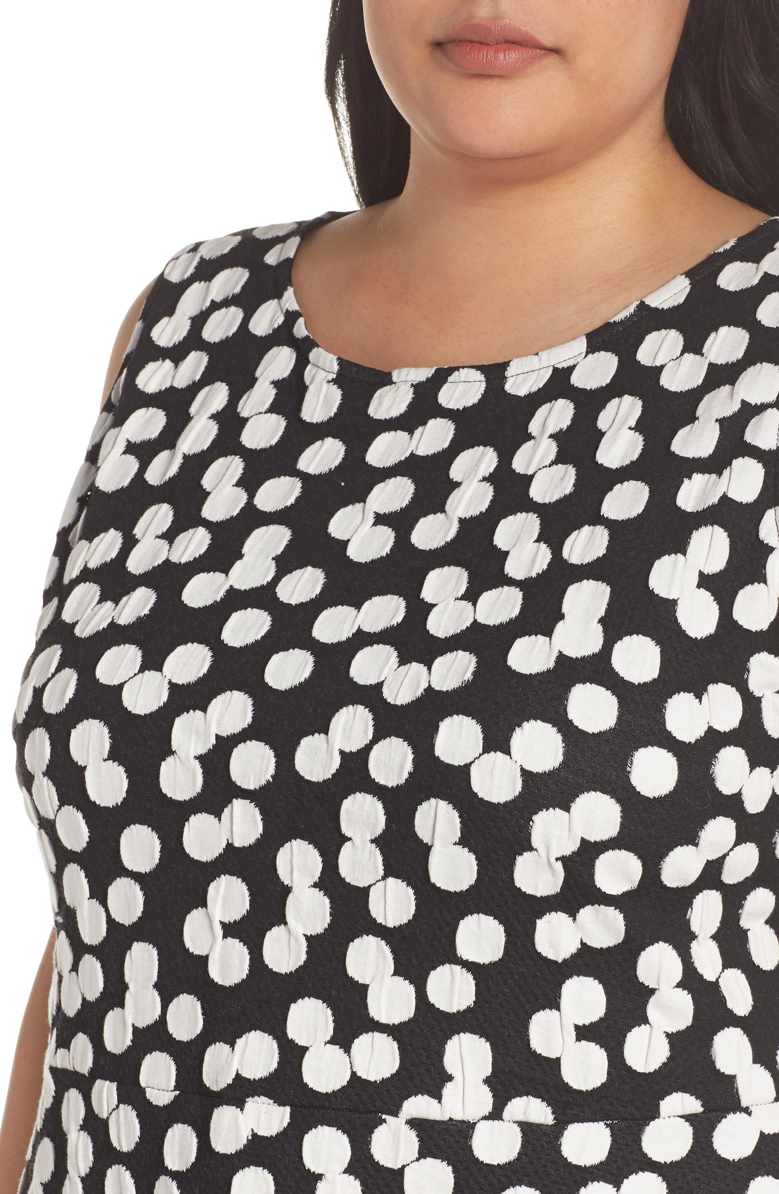 Ava Fit & Flare Dress,                             Alternate thumbnail 4, color,                             Cluster Dot