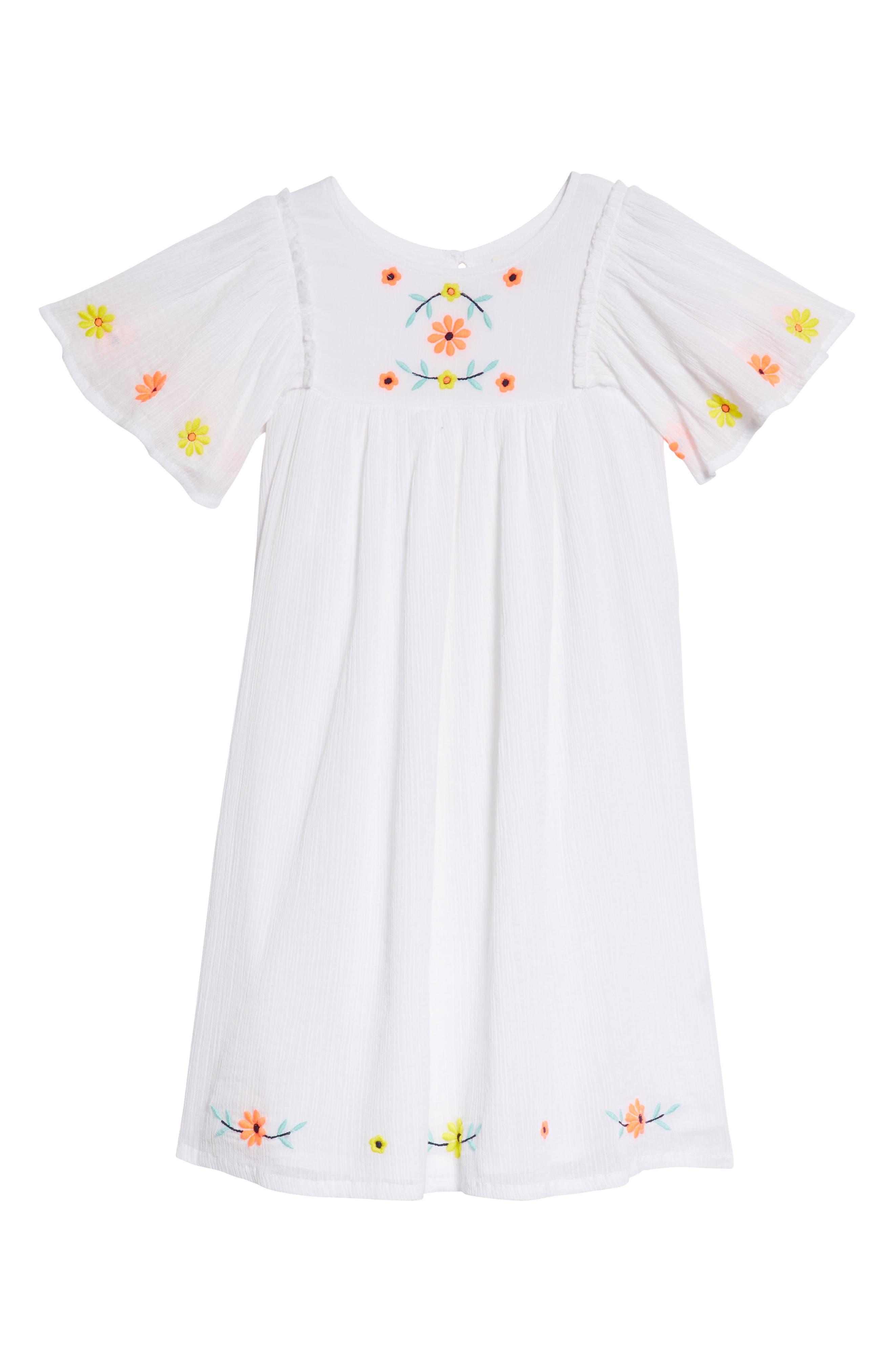 Main Image - Tucker + Tate Embroidered Flutter Sleeve Dress (Toddler Girls, Little Girls & Big Girls)