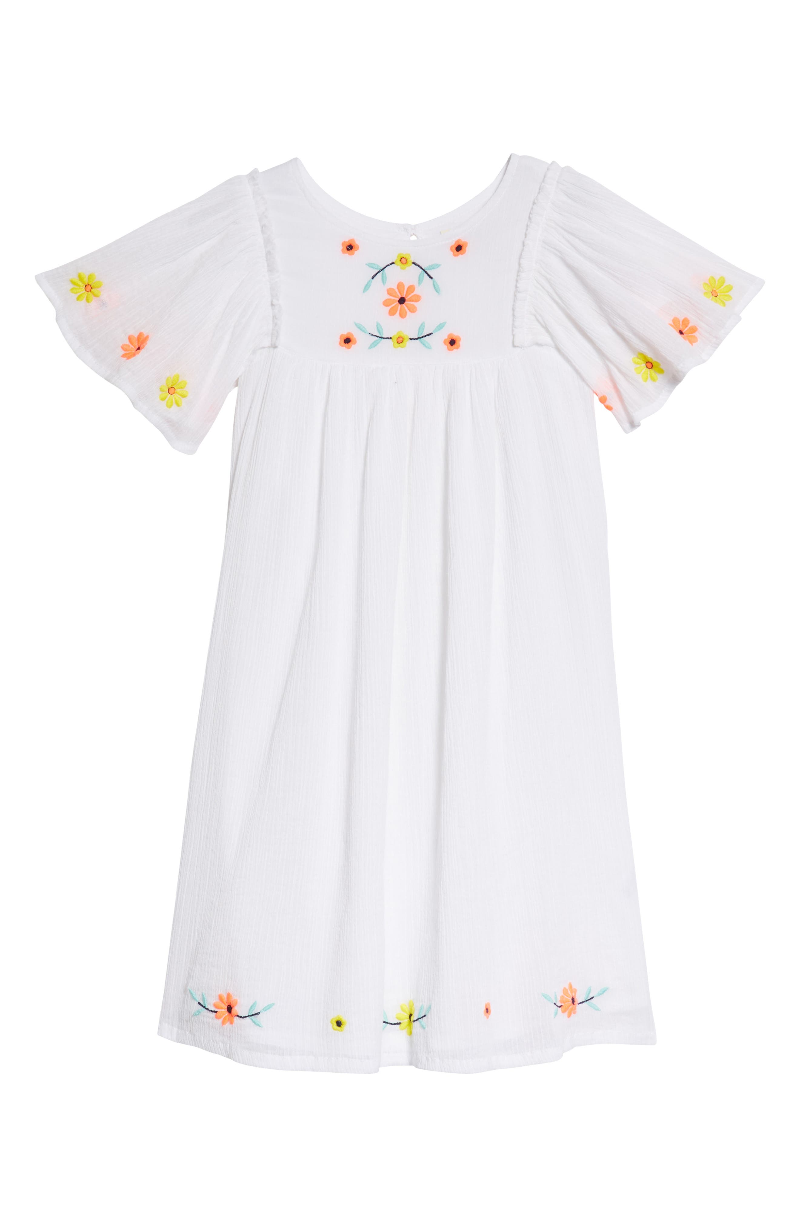 Embroidered Flutter Sleeve Dress,                         Main,                         color, White