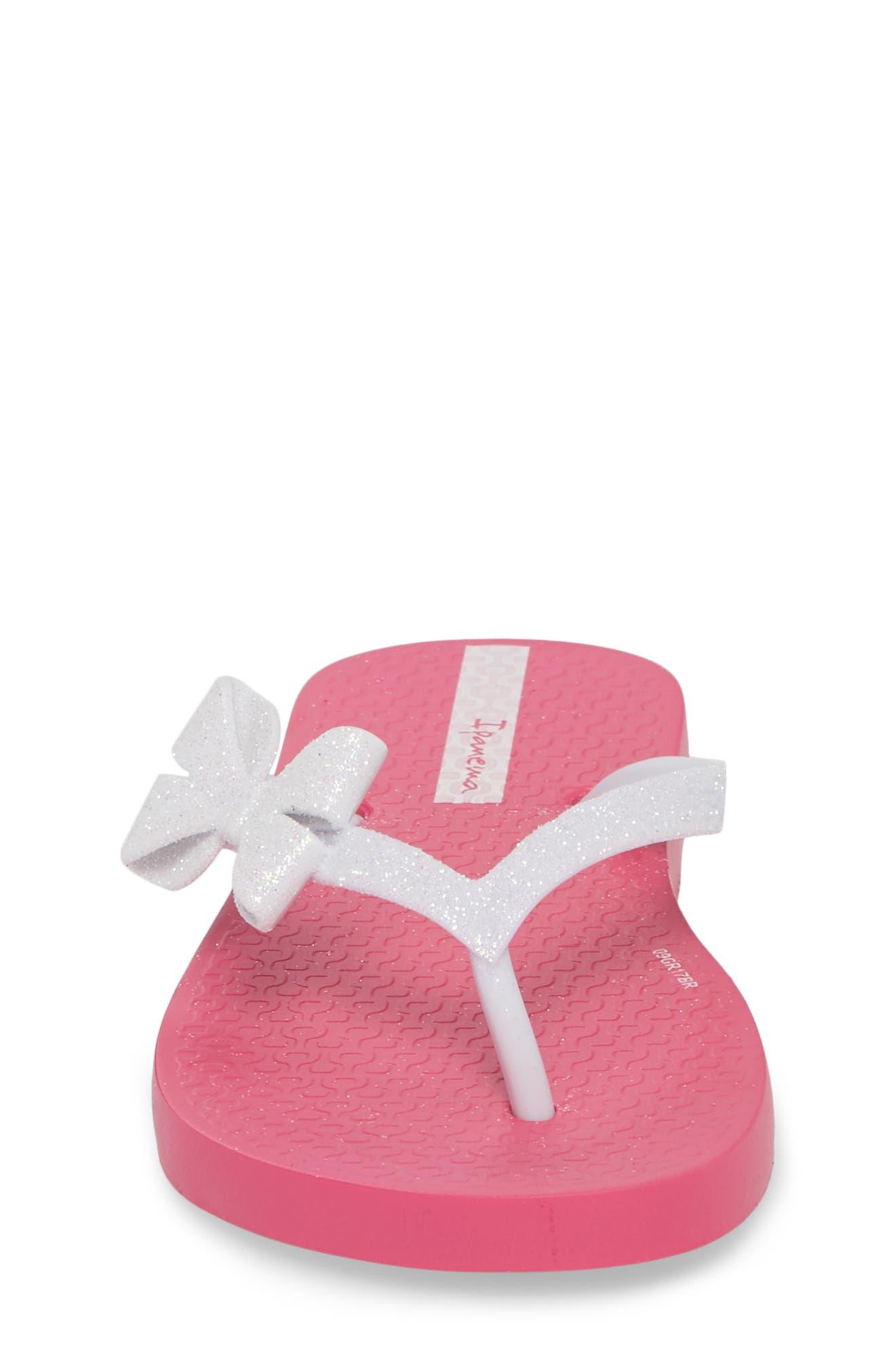 Glitter IV Flip Flop,                             Alternate thumbnail 4, color,                             Pink/ White