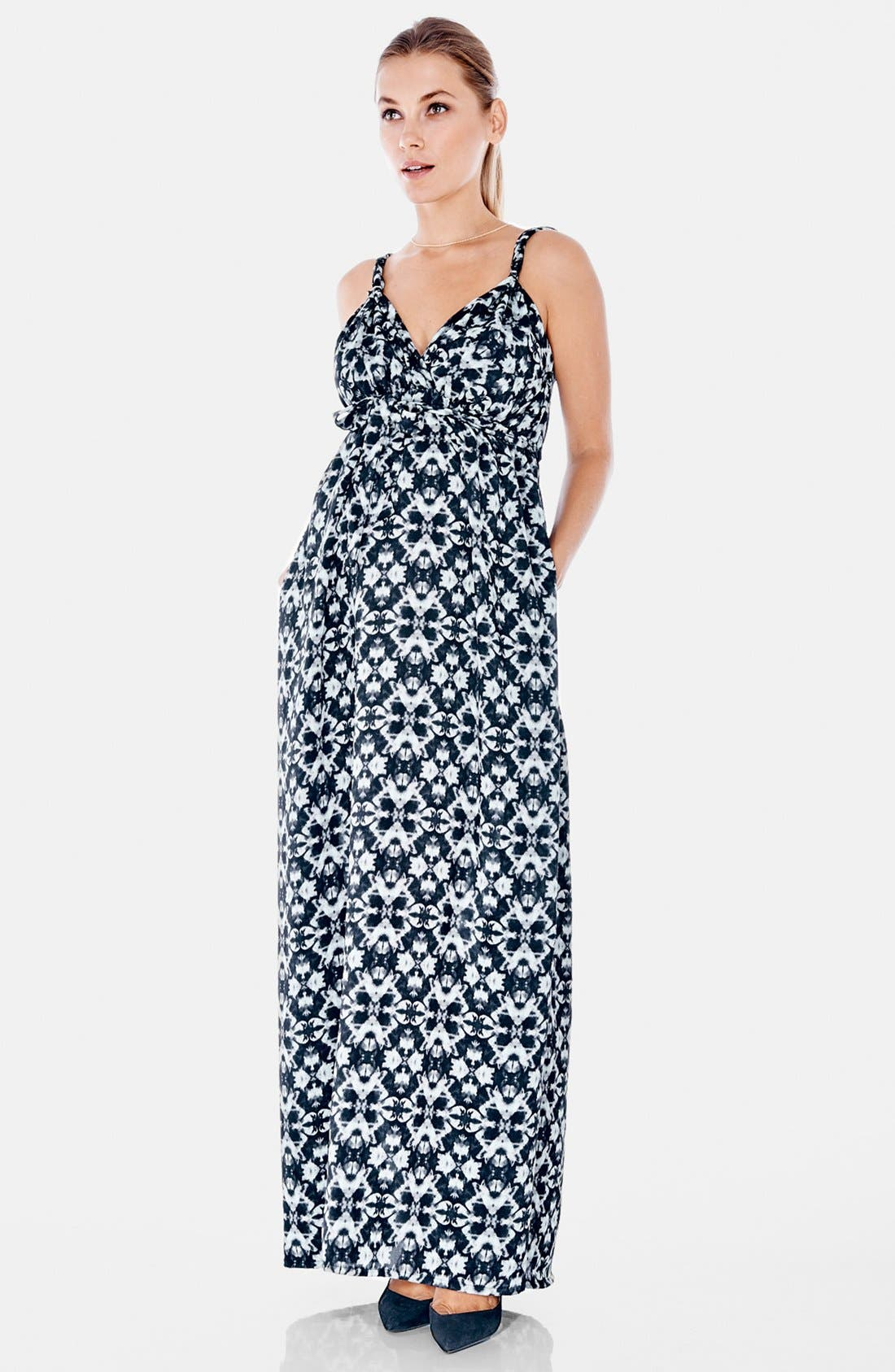Maxi Maternity Dress,                             Alternate thumbnail 3, color,                             Kaleidoscope Print