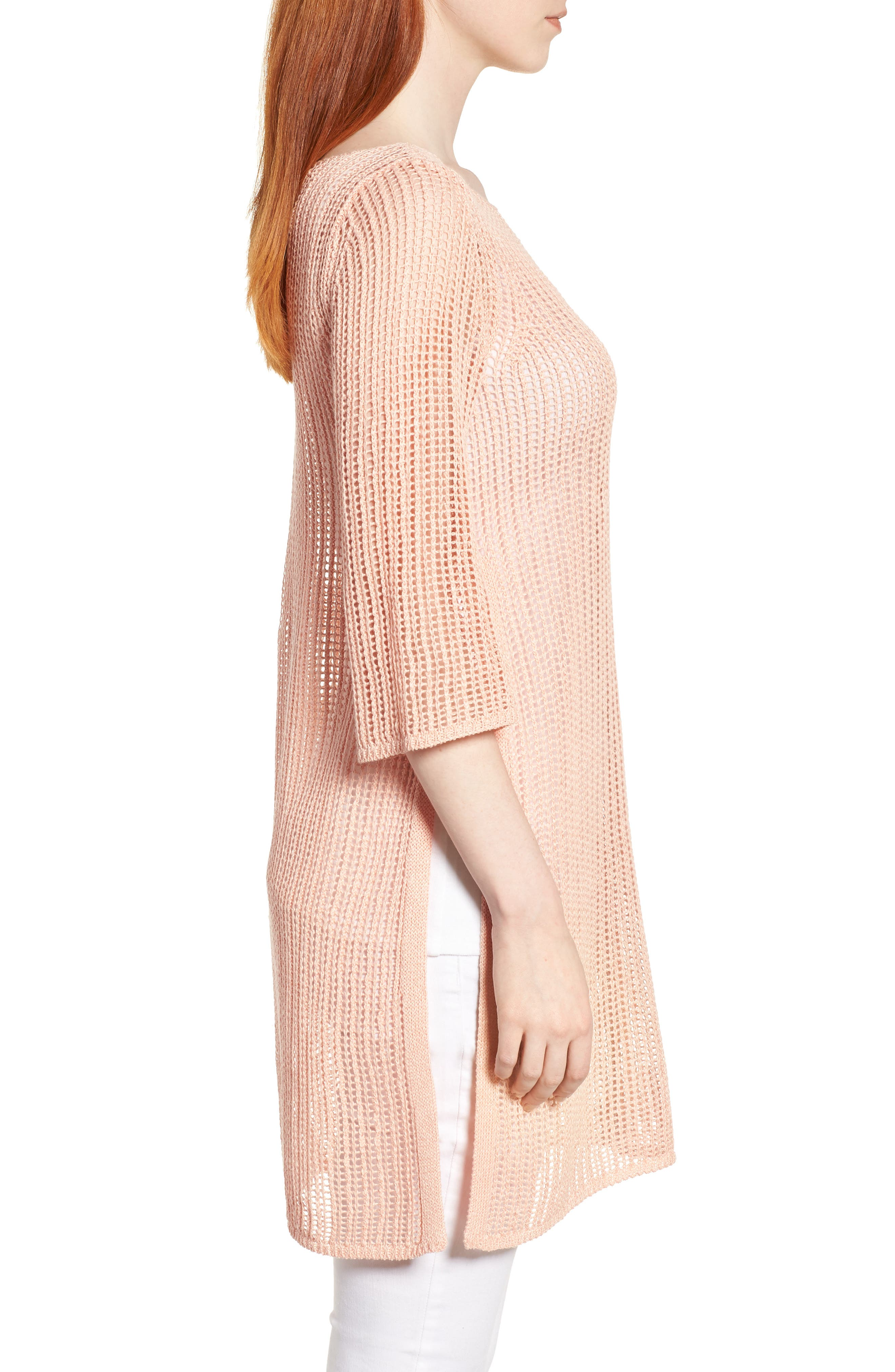 Organic Linen Tunic,                             Alternate thumbnail 3, color,                             Petal