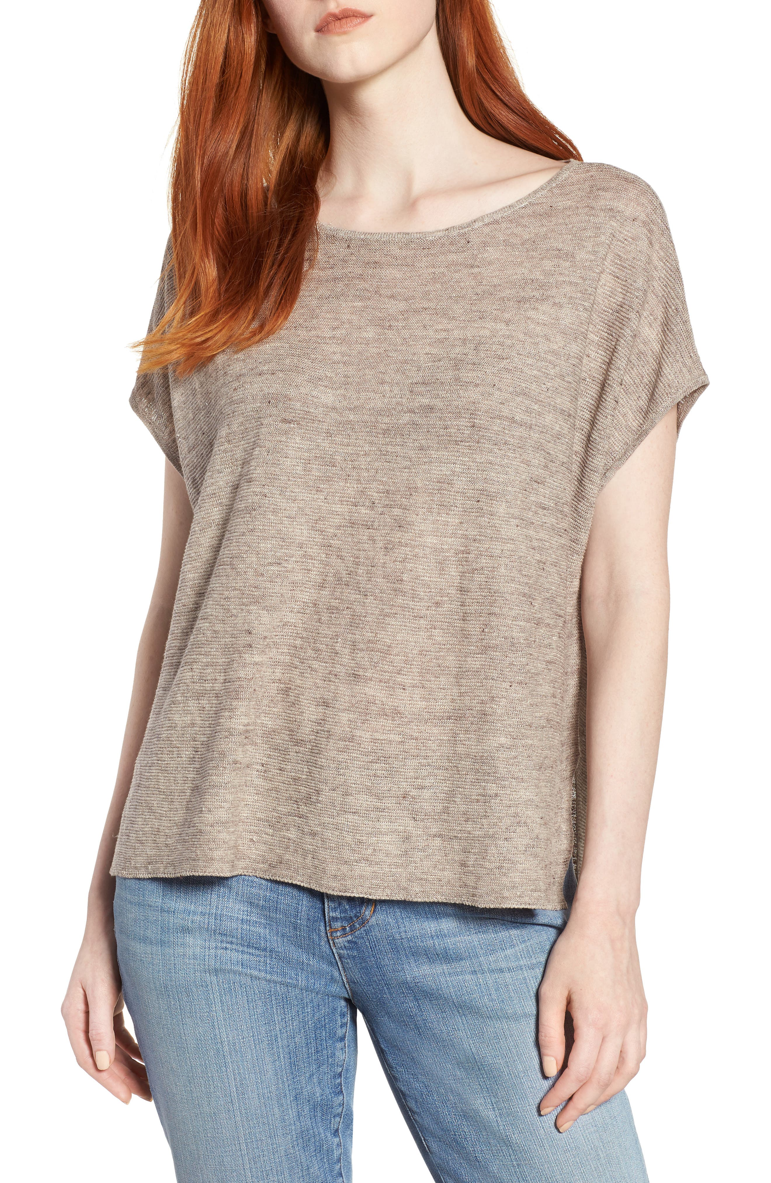High/Low Poncho Top,                         Main,                         color, Natural